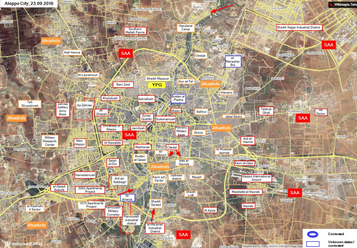 Overview of Military Situation in Aleppo City On September 24