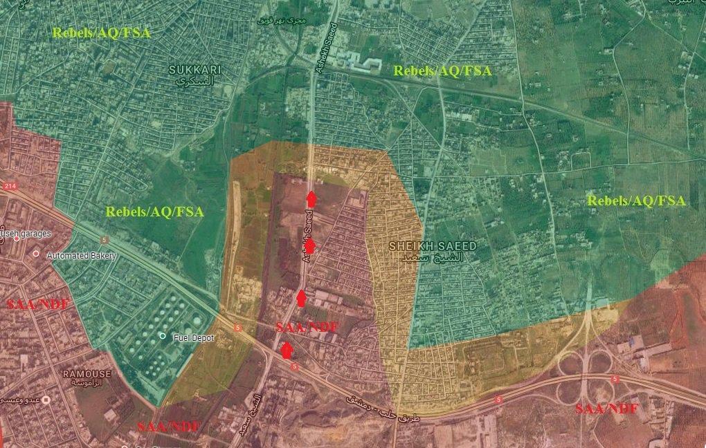 Syrian Army Advances Deeper in Eastern Aleppo, Sets Fire Control of Karm ad-Da'da