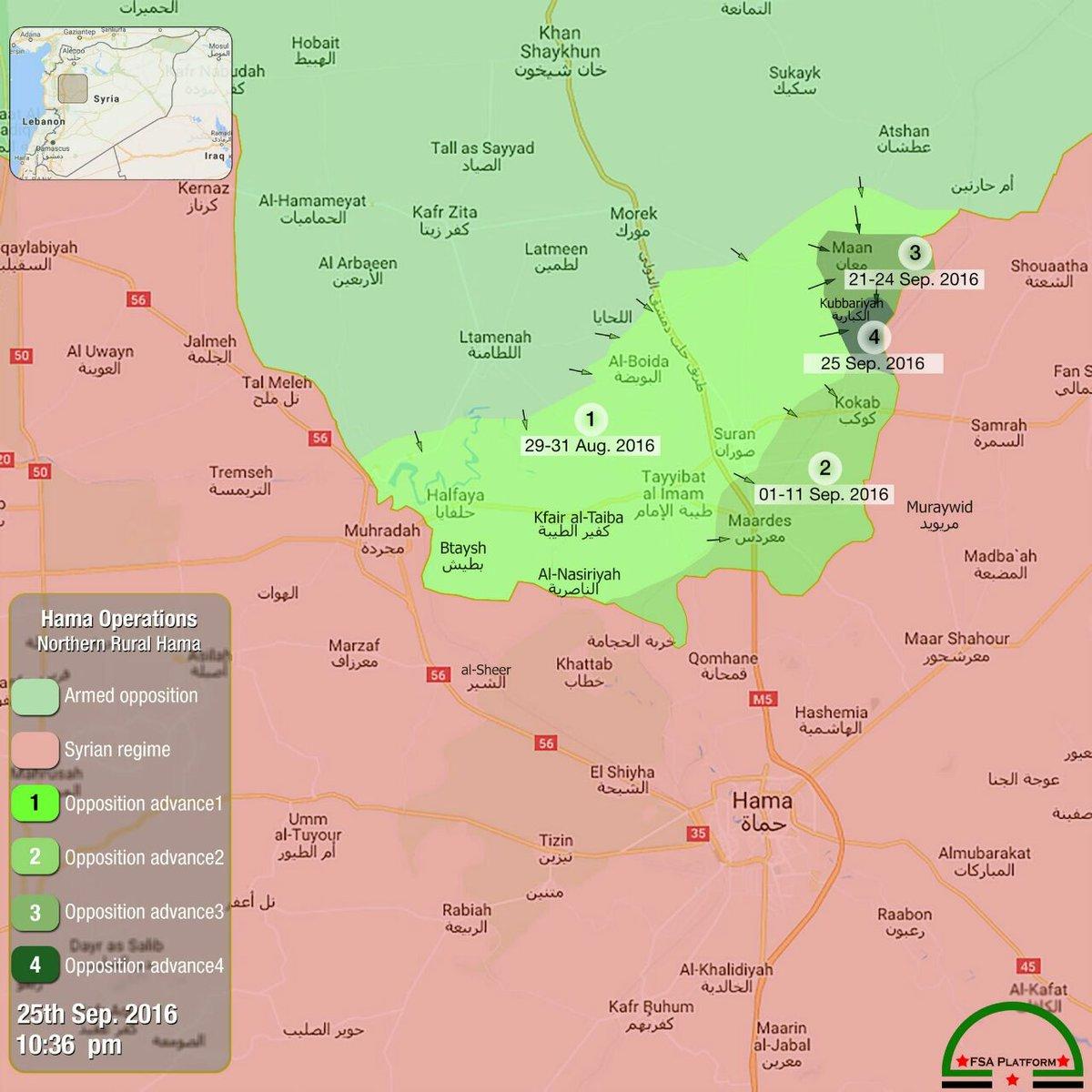 Map: Terrorists' Advances in Northerh Hama, Syria