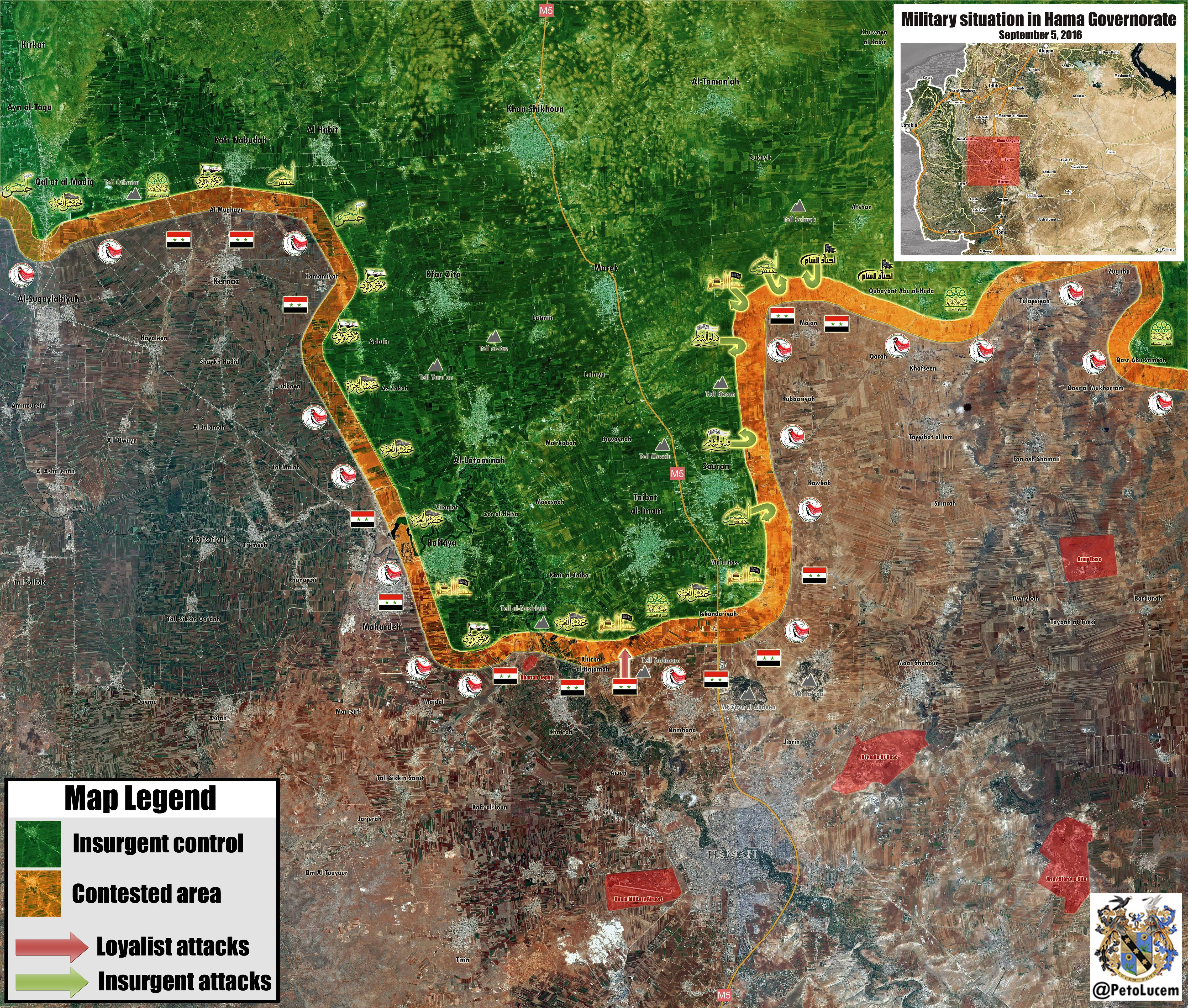 Military Situation in Hama Province, Syria on September 5