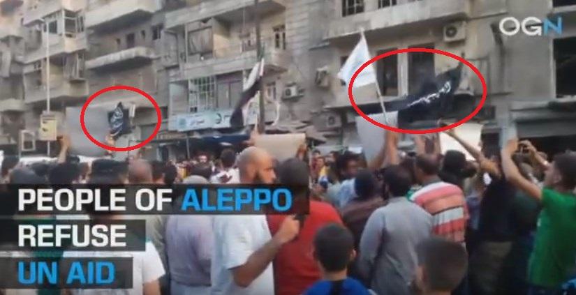 'People' (Al Nusra Supporters) in Eastern Aleppo Demonstrate AGAINST UN Aid (Video)