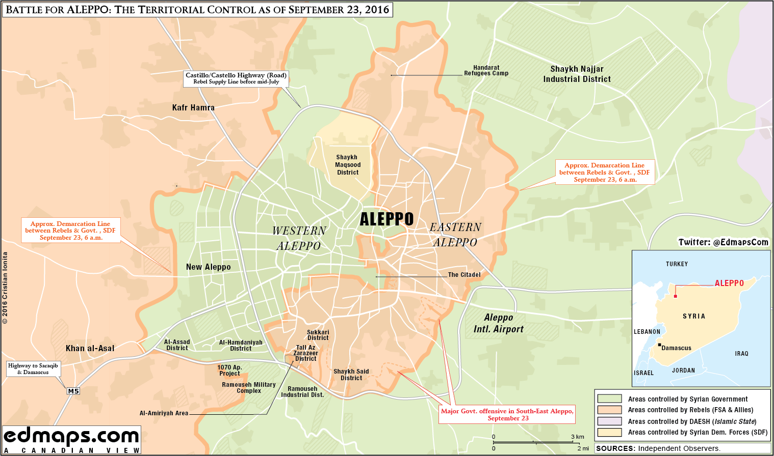 Map Update: Military Situation in Aleppo City on September 23, 2016
