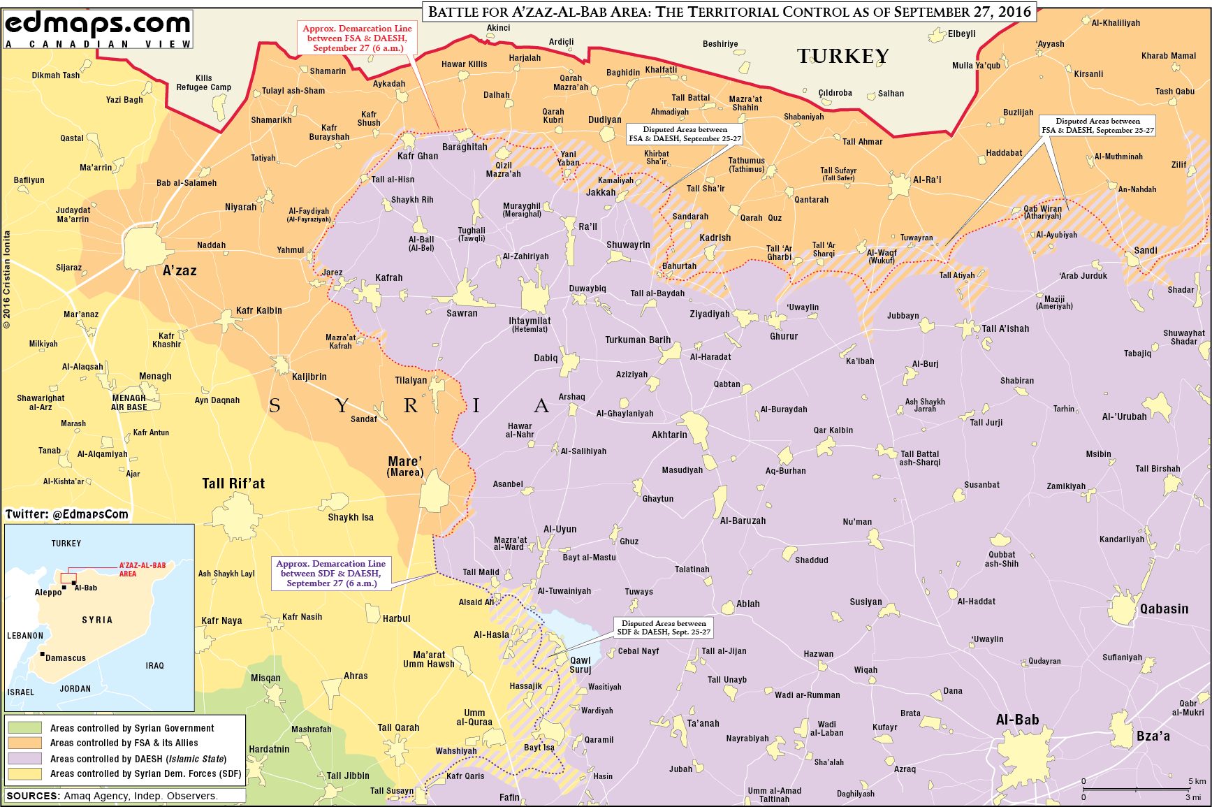Map Update: Military Situation in Northern Aleppo on September 27, 2016