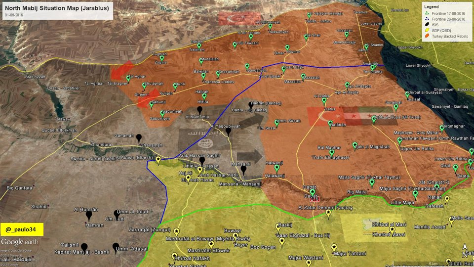 Pro-Turkish Militants Repelled ISIS Attacks & Went on Offensive to West of Jarablus
