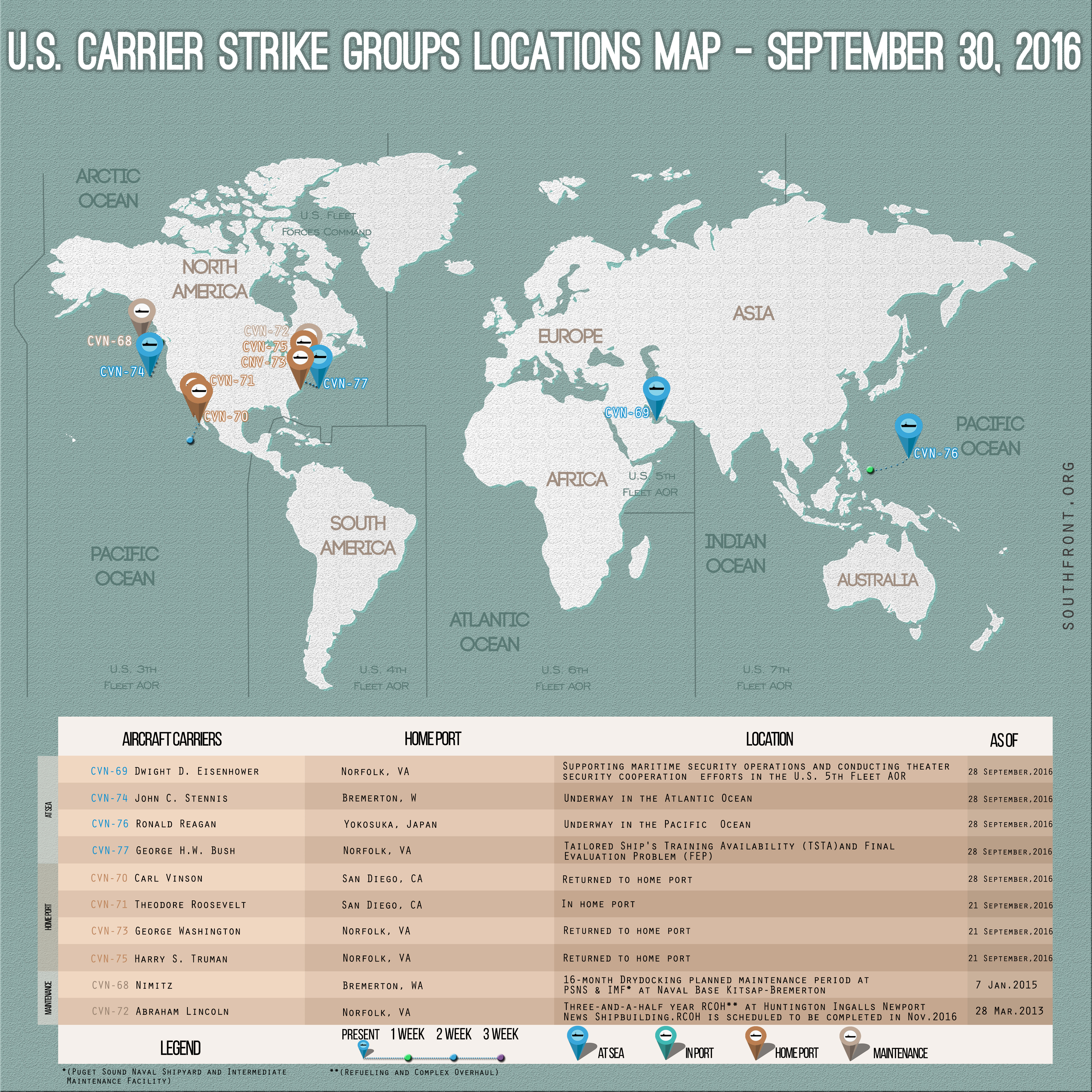 US Carrier Strike Groups Locations Map – September 30, 2016
