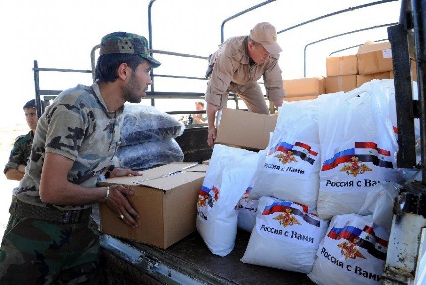 Russian Military Delivers 1.5 Tons of Humanitarian Aid in Aleppo