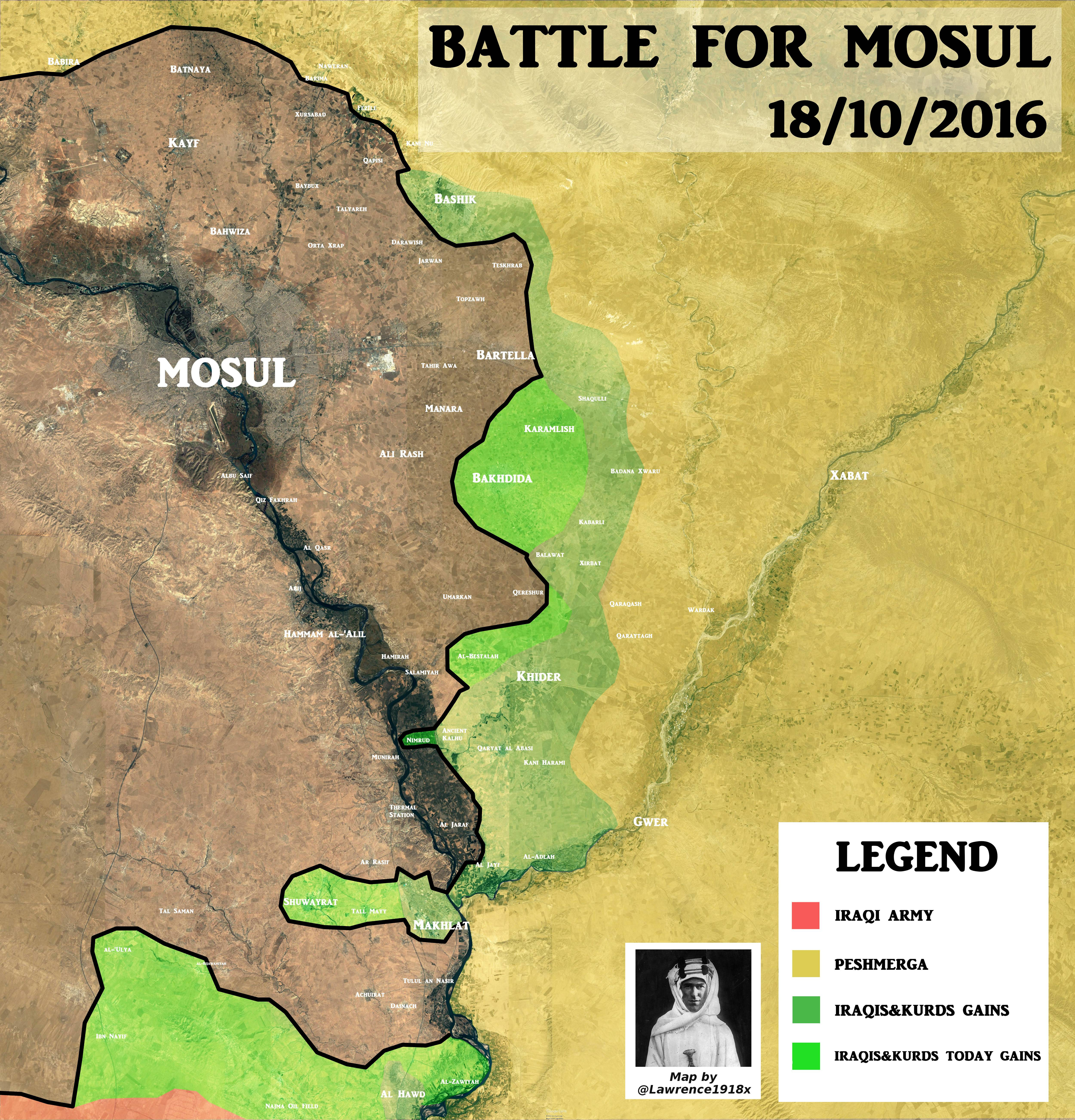 Iraqi Map Update: 2nd Day of Battle for Mosul – Results
