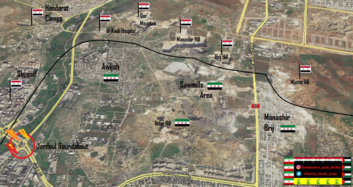 Govt Forces Keep Fire Control of Jandoul Roundabout in Northern Aleppo