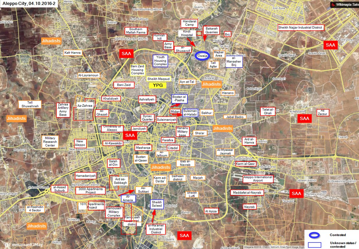 Overview of Military Situation in Aleppo City on October 5, 2016