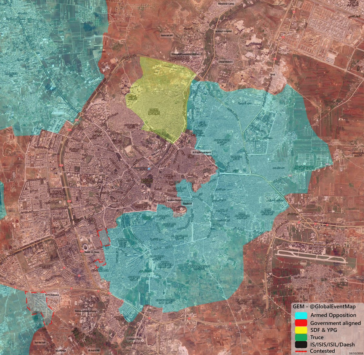 Overview of Military Situation in Aleppo City on October 17, 2016