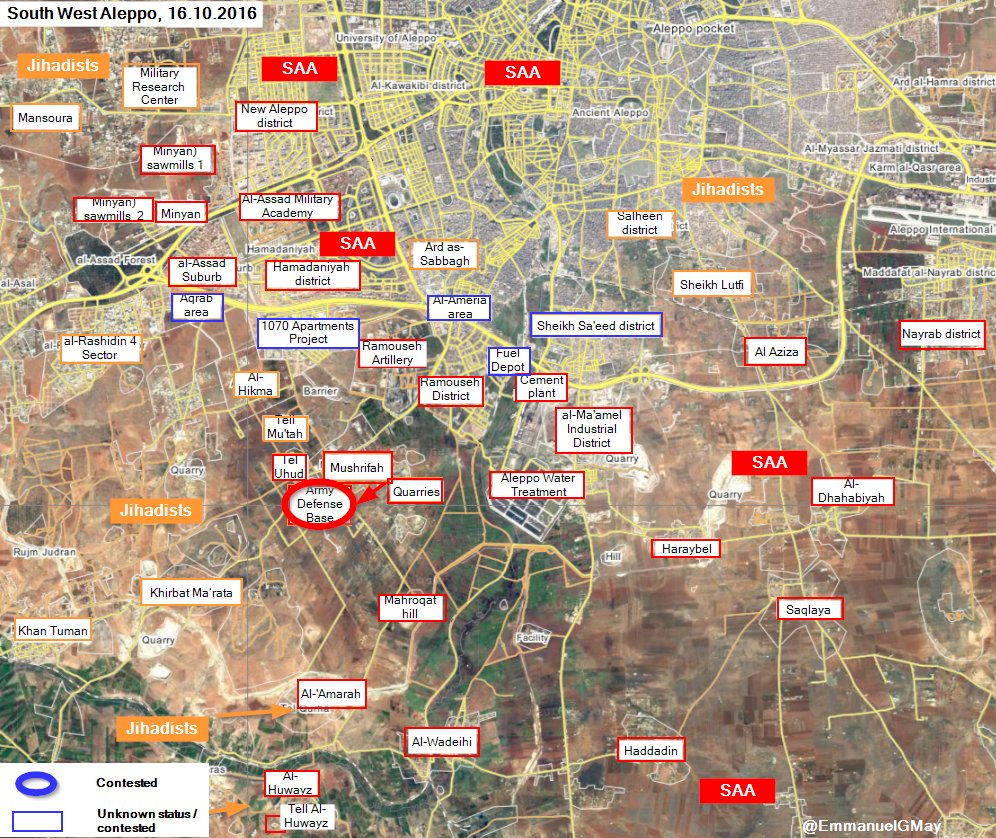 Government Forces Seize Army Defense Base in Southwestern Aleppo