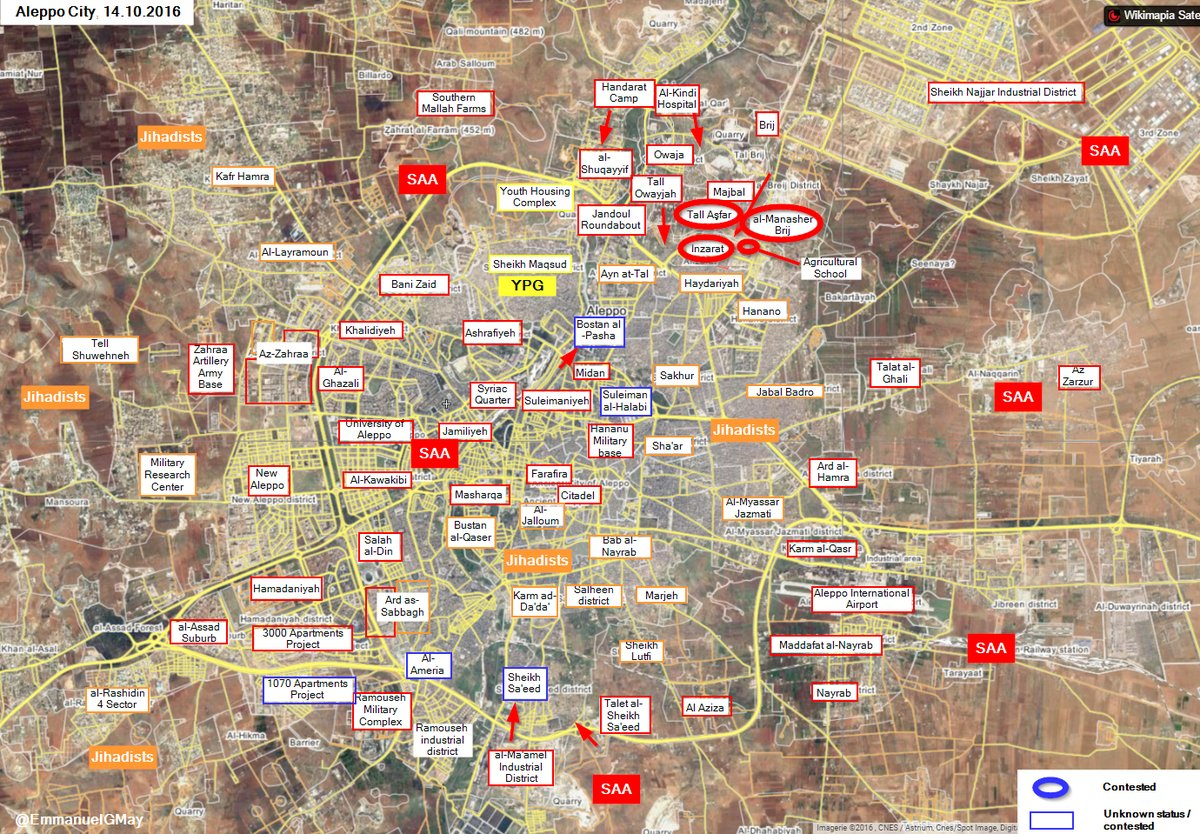 Overview of Military Situation in Aleppo City on October 14-15, 2016