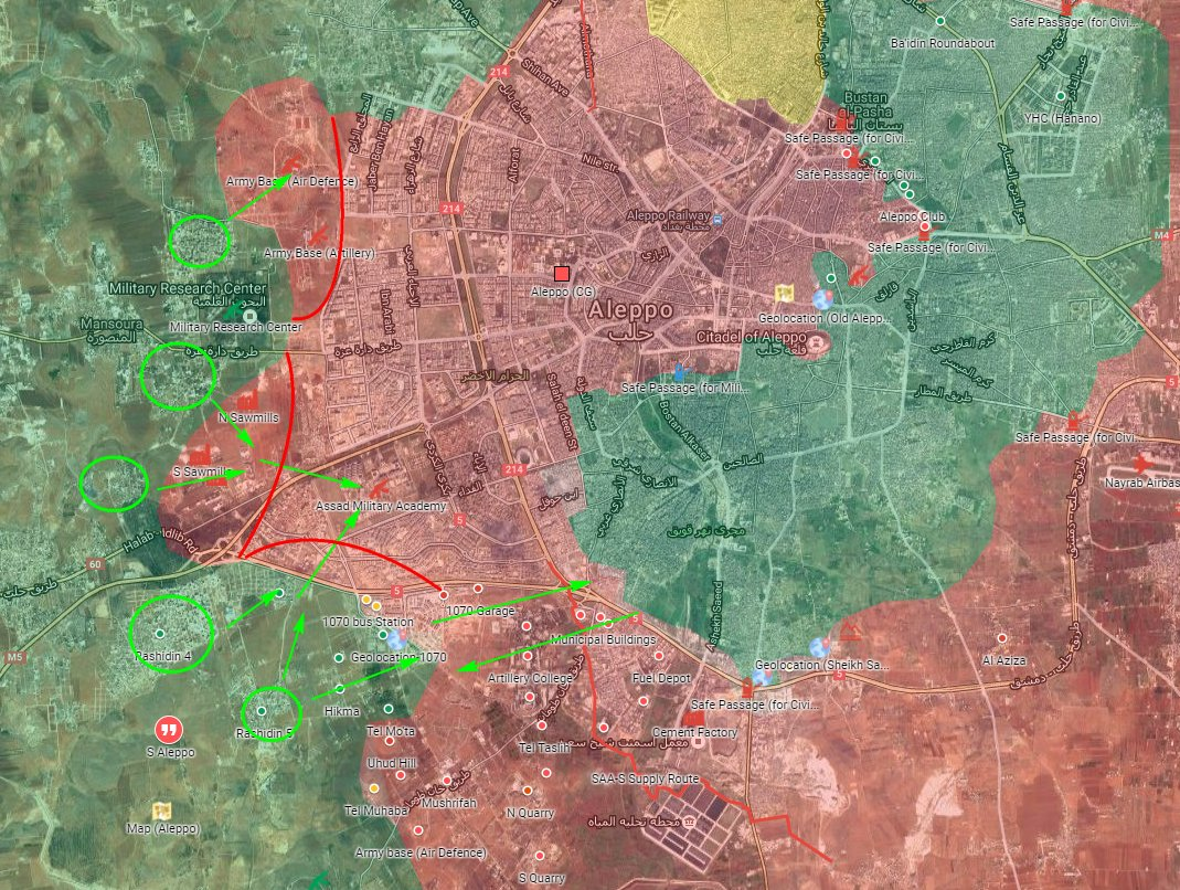 Military Situation in Aleppo City on October 28, 2016 (Evening)