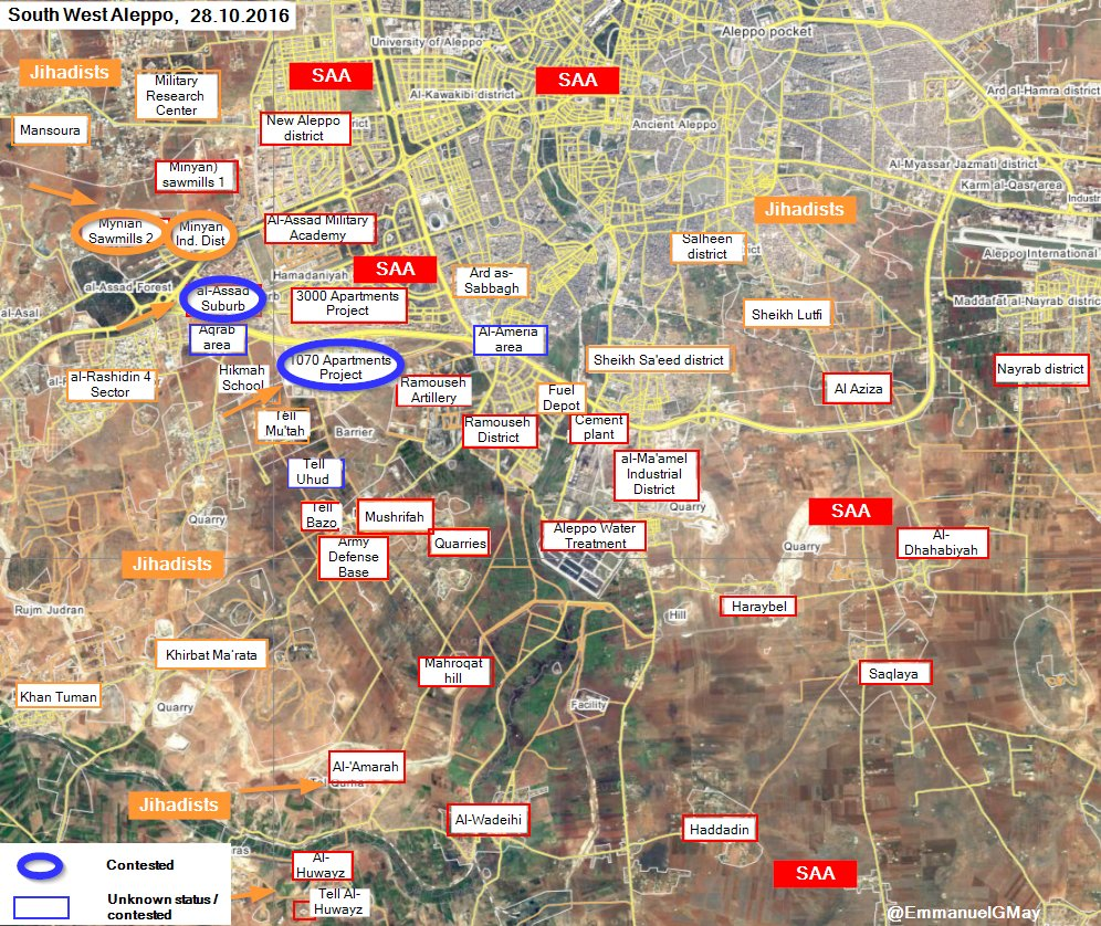 Overview of Military Situation in Aleppo City on October 29, 2016 (Maps, Photos, Videos)