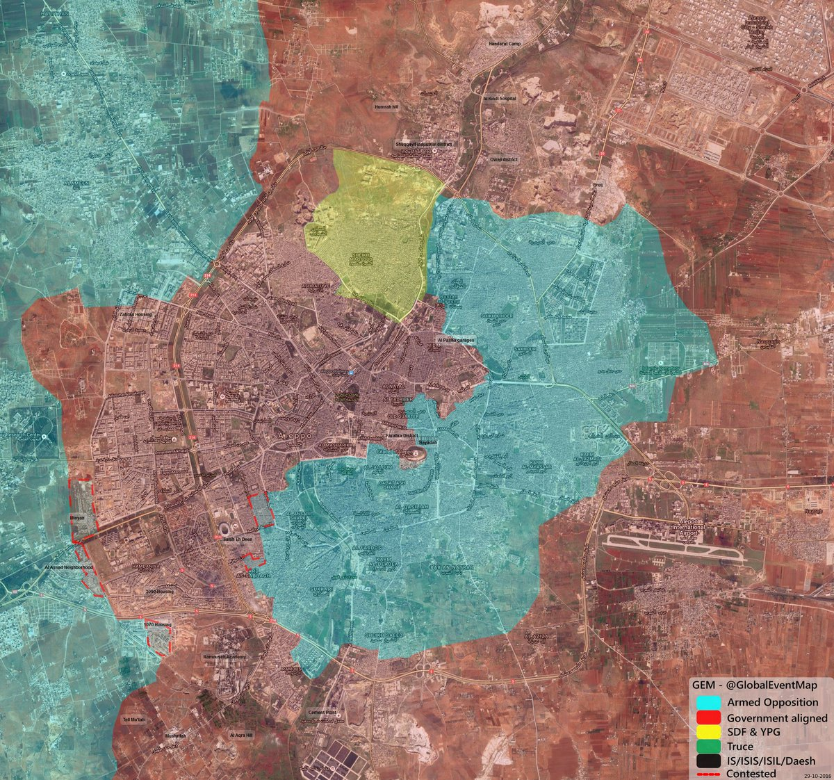 Overview of Military Situation in Aleppo City on October 29-30, 2016