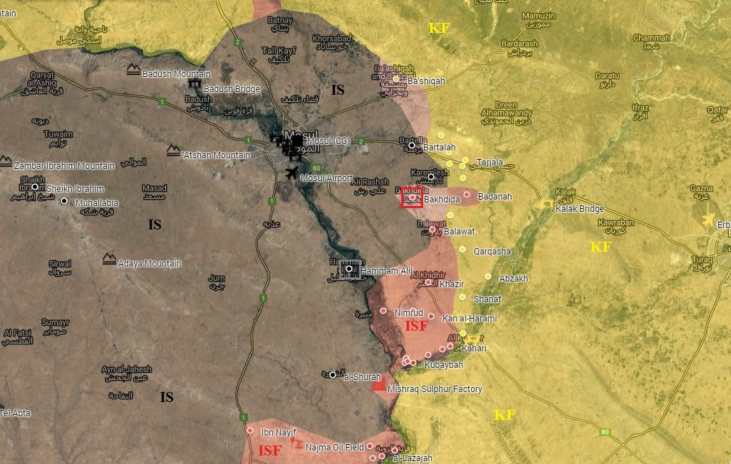 Iraqi Forces Liberate Town of Bakhdida Southeast of Mosul