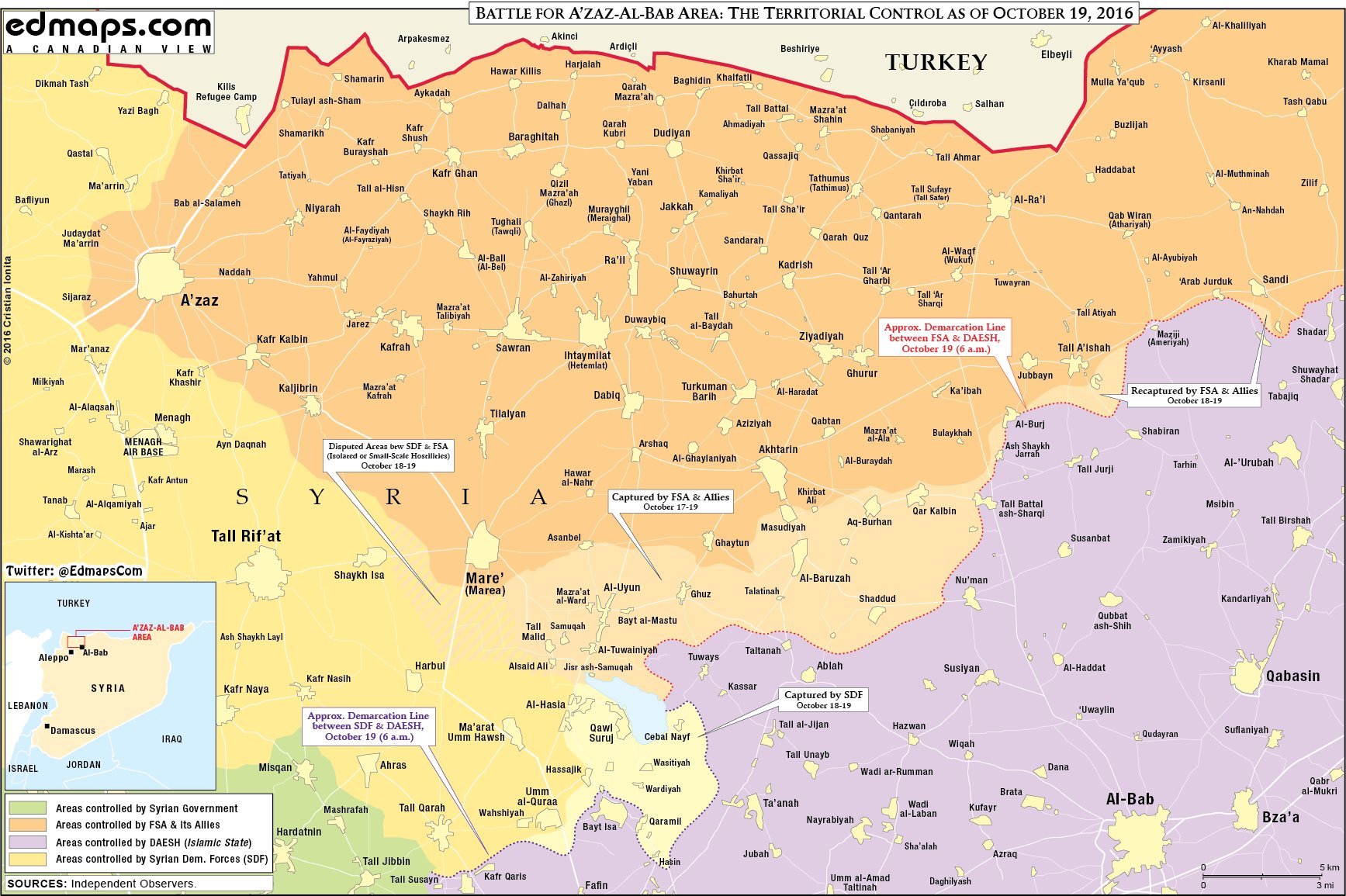 Map Update: Race to Al-Bab in Syria's Aleppo Province on October 19, 2016