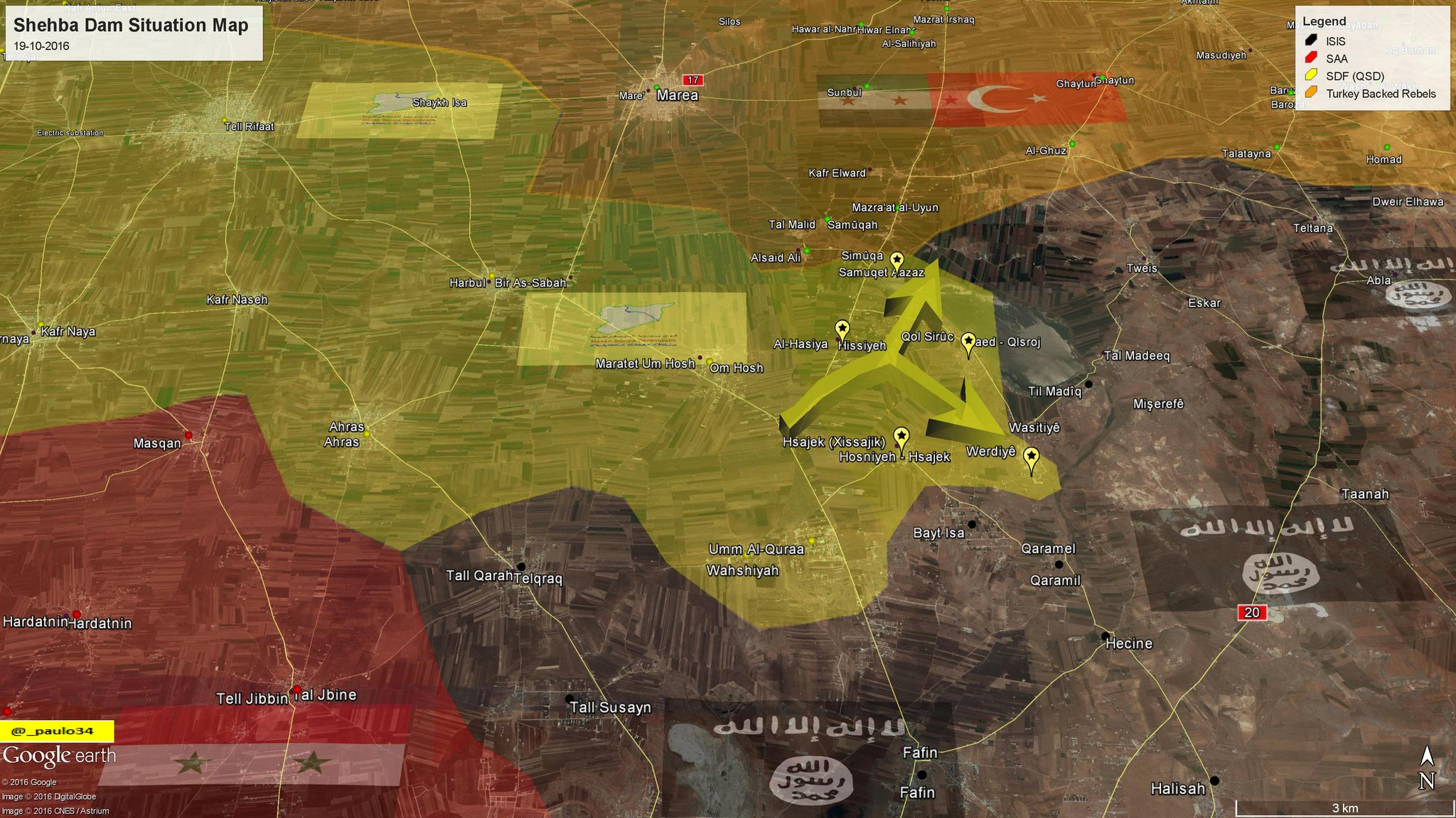 Turkish-backed Militants and Kurdish YPG Clash at Tell Rifaat in Northern Syria