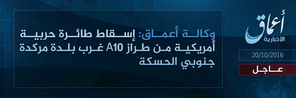 ISIS Claims to Down US A-10 Thunderbolt II Warplane in Hasakah Province