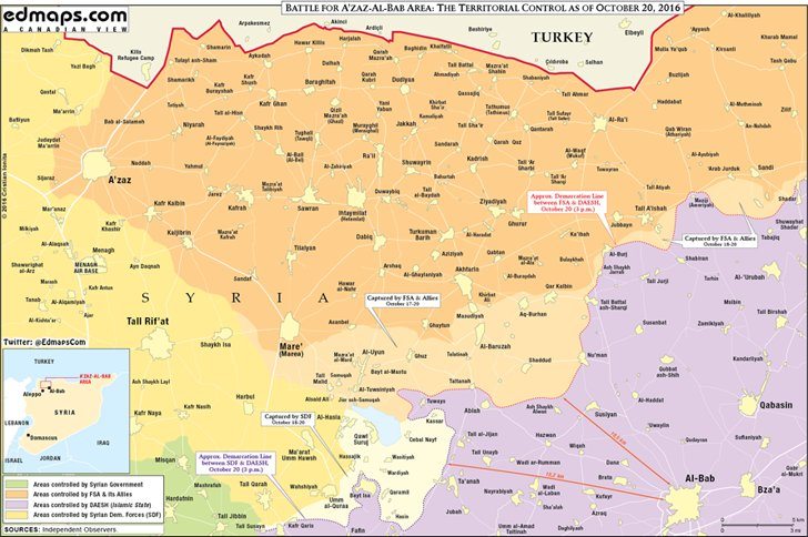 Map Update: Race to Al-Bab in Syria's Aleppo Province on October 20, 2016