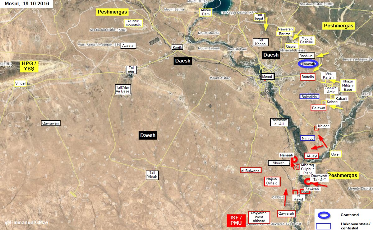 Iraqi Forces Push ISIS Back from more Villages South of Mosul