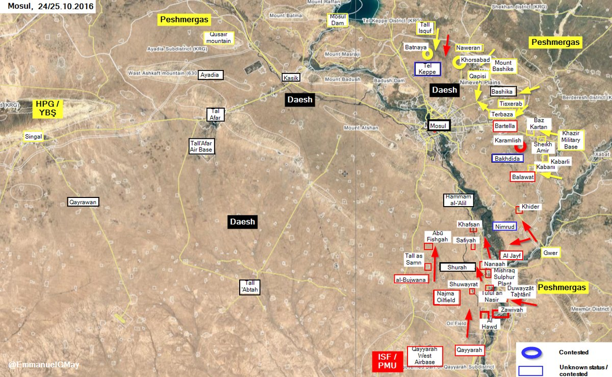 Iraqi Security Forces & Kurdish Peshmerga Seize More Villages from ISIS near Mosul