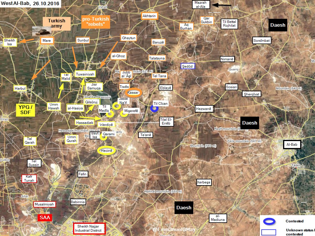 Kurdish YPG Attacking Turkish-backed Militants in Northern Aleppo