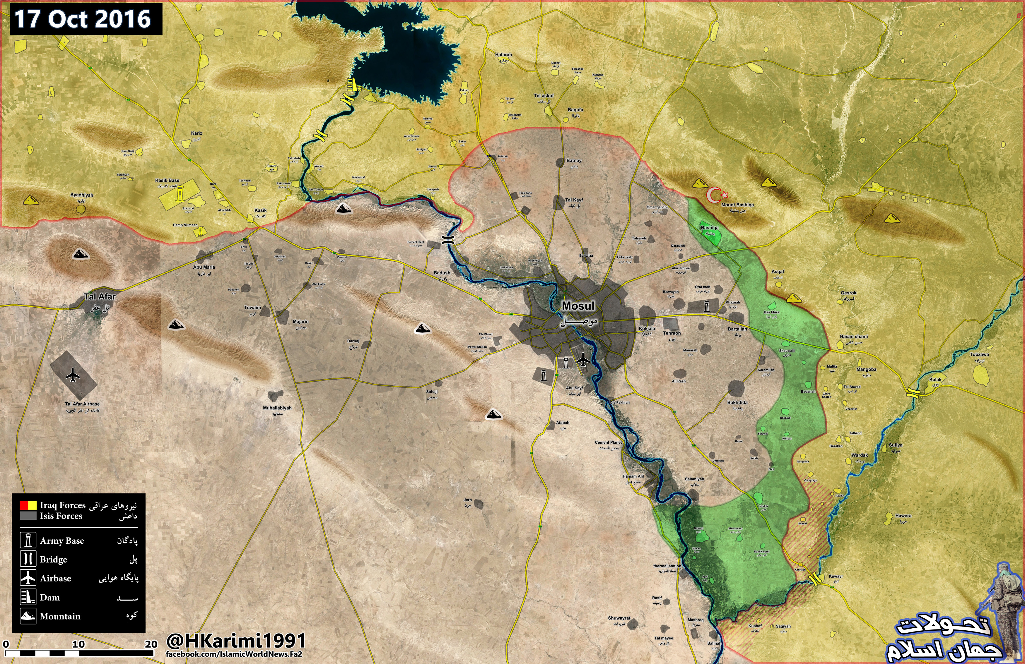 Iraqi Map Update: 1st Day of Battle for Mosul - Results