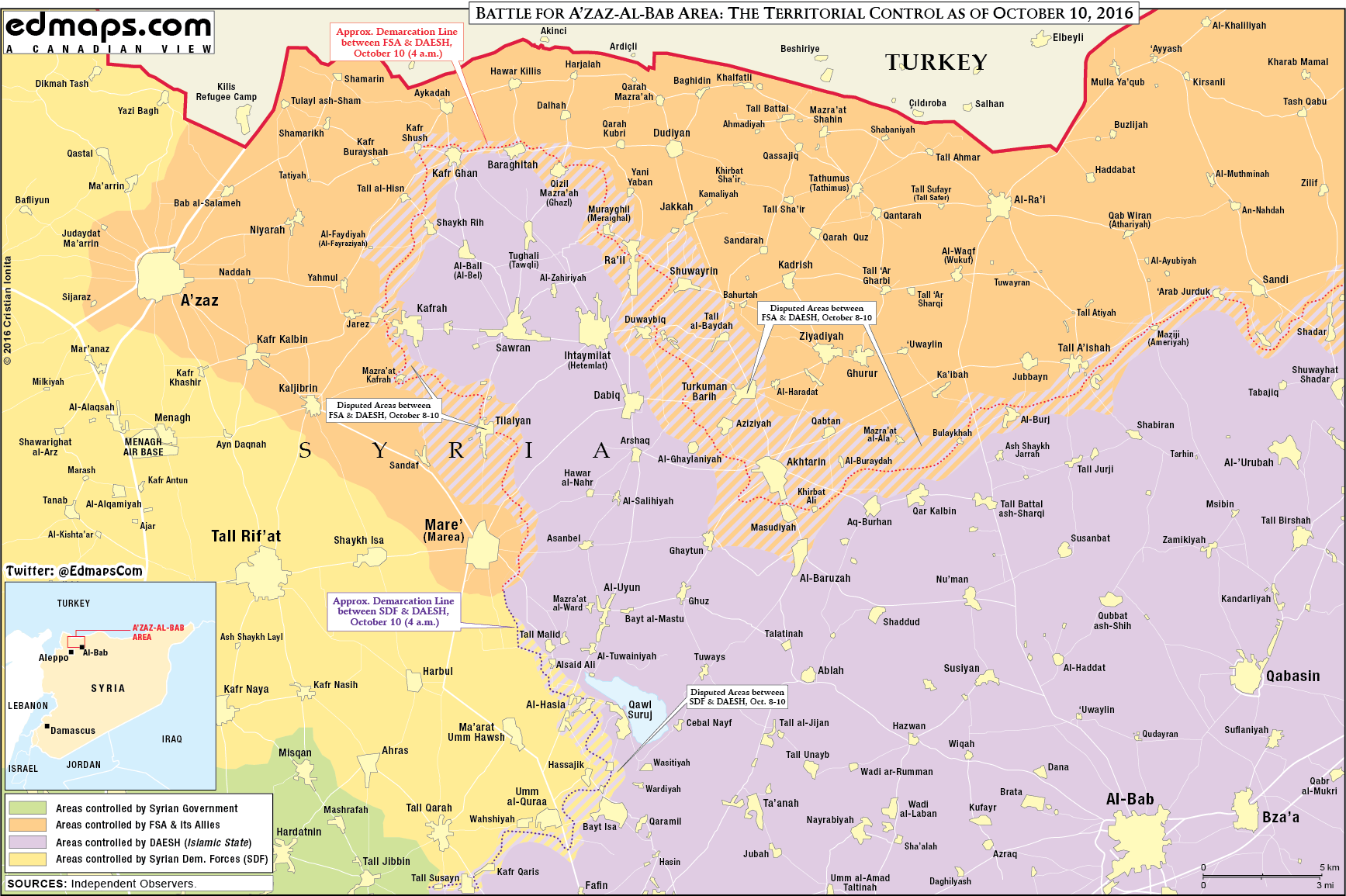 Military Situation in the Area of Azaz, Syria on October 10, 2016
