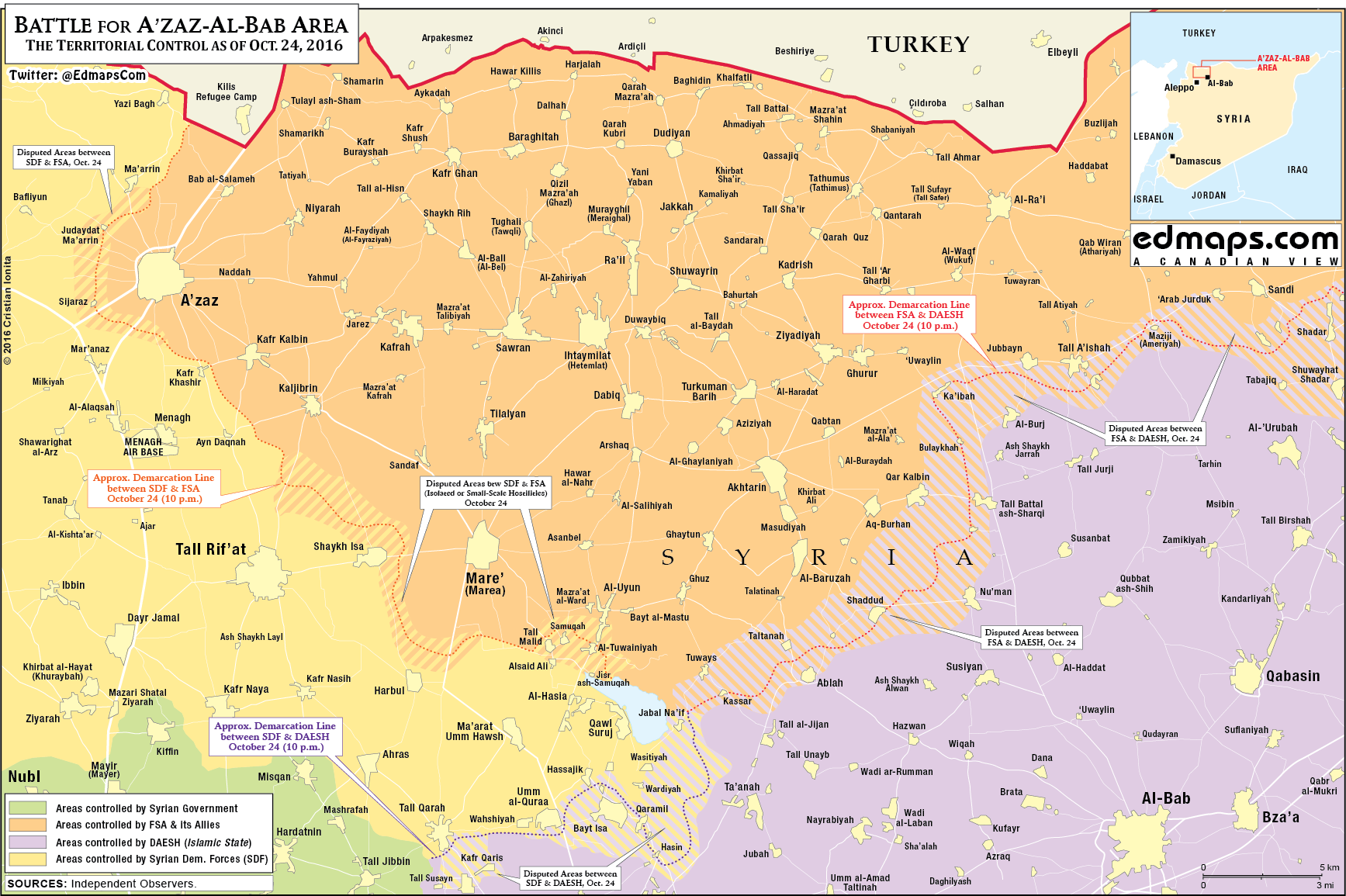 "Turkey-backed Militants Temporarly Stopped Advance on Kurdish YPG in Northern Syria due to ""International Reasons"""
