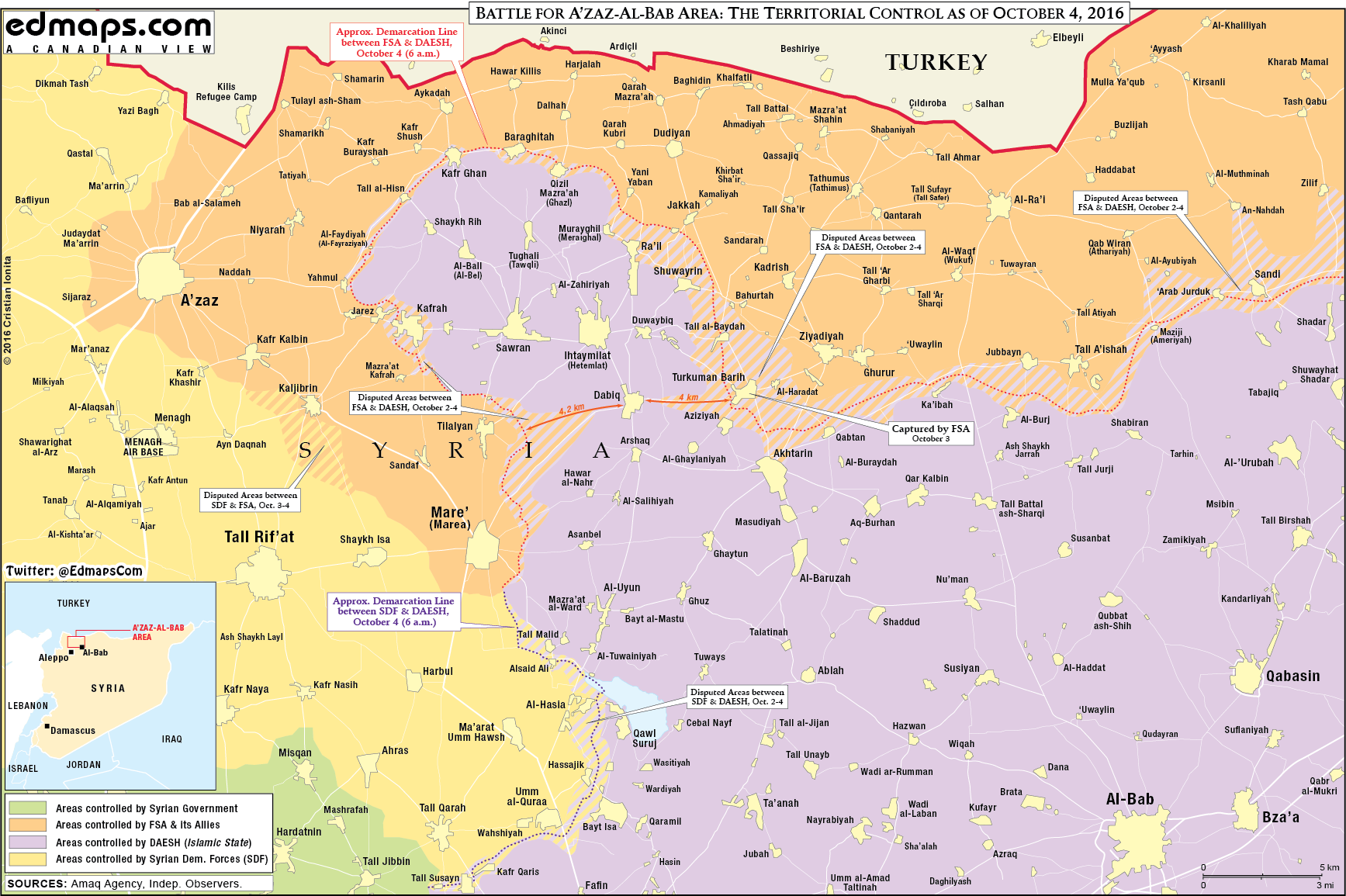 Map Update: Military Situation in Northern Part of Aleppo Province on September 4
