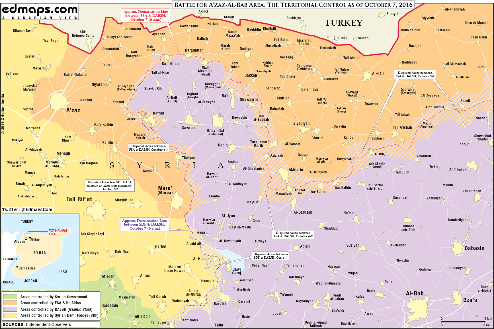 Military Situation near Azaz, Northern Syria on October 7