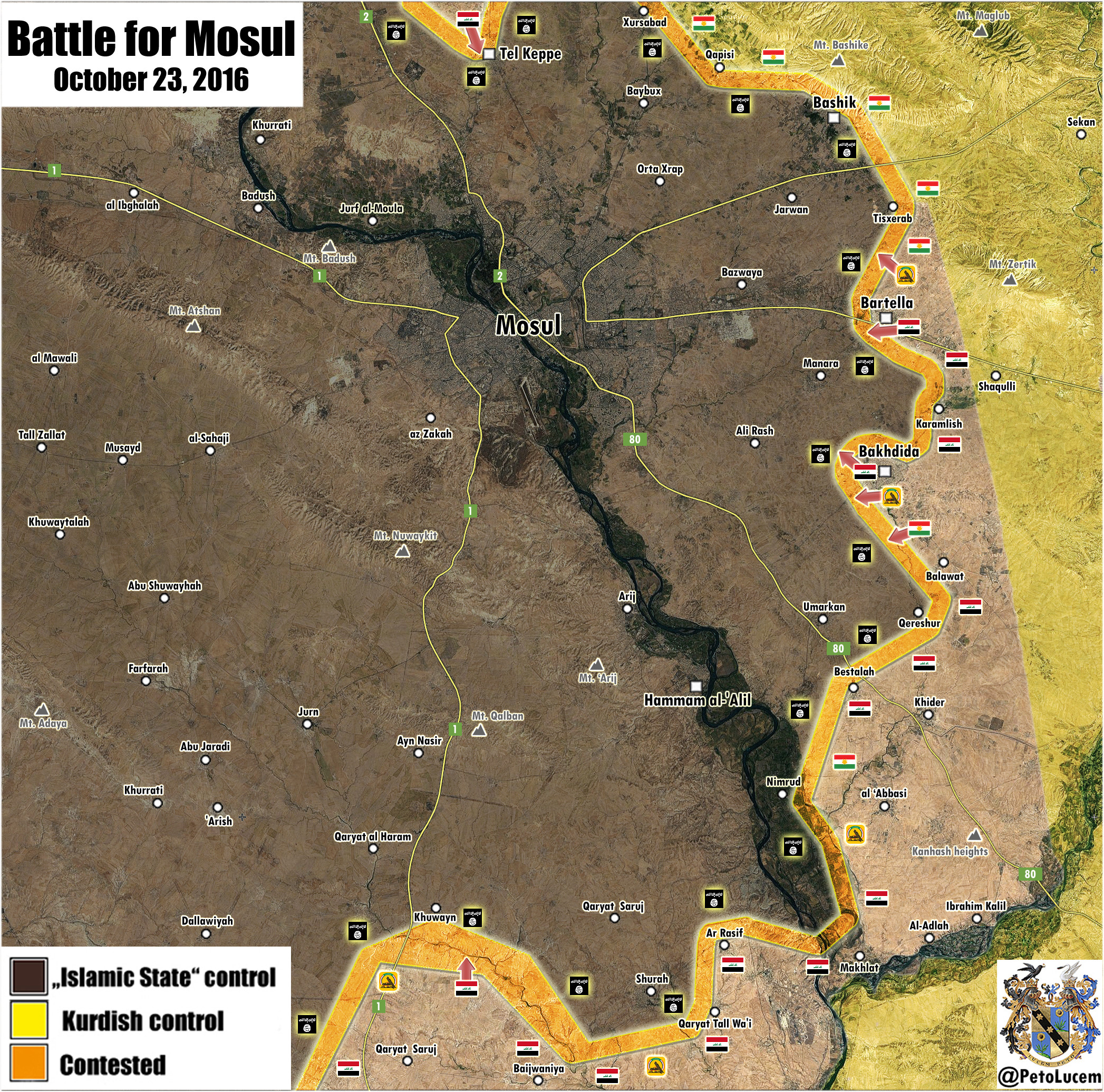 Iraqi Map Update: Results of 7th Day of Battle for Mosul