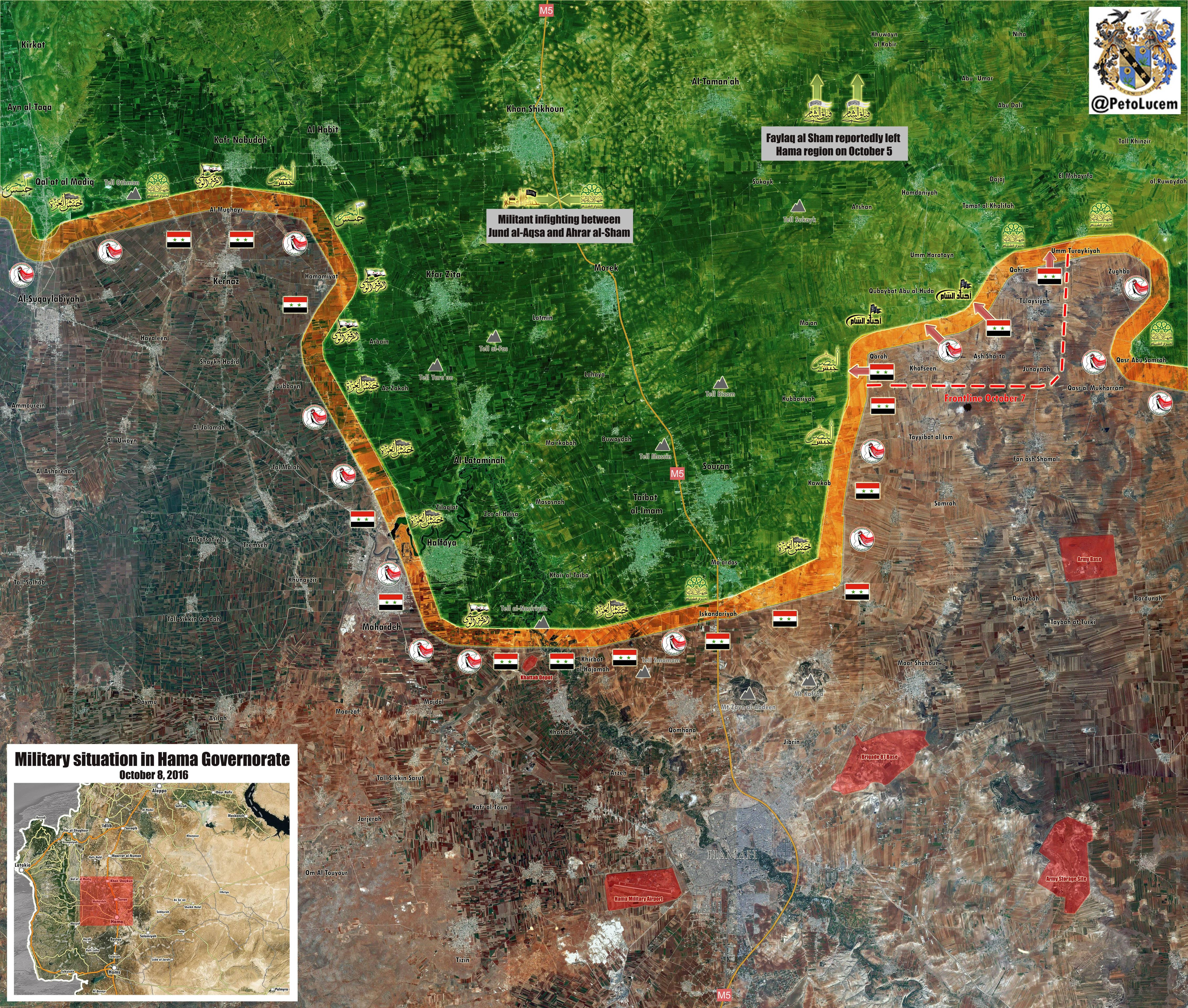 Govt Forces Continue Advances in Northern Hama amid Infighting among Terrorists