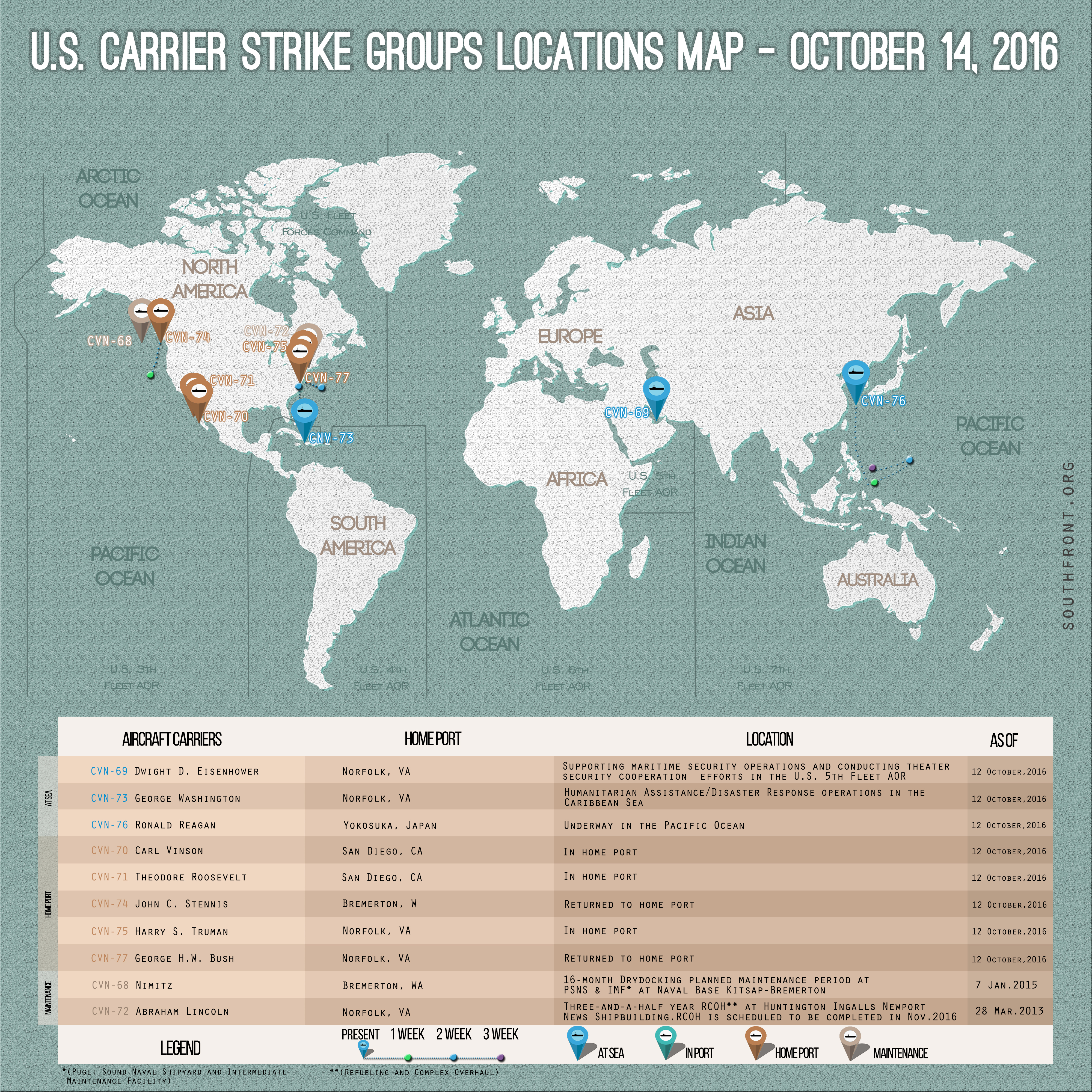 US Carrier Strike Groups Locations Map – October 14, 2016