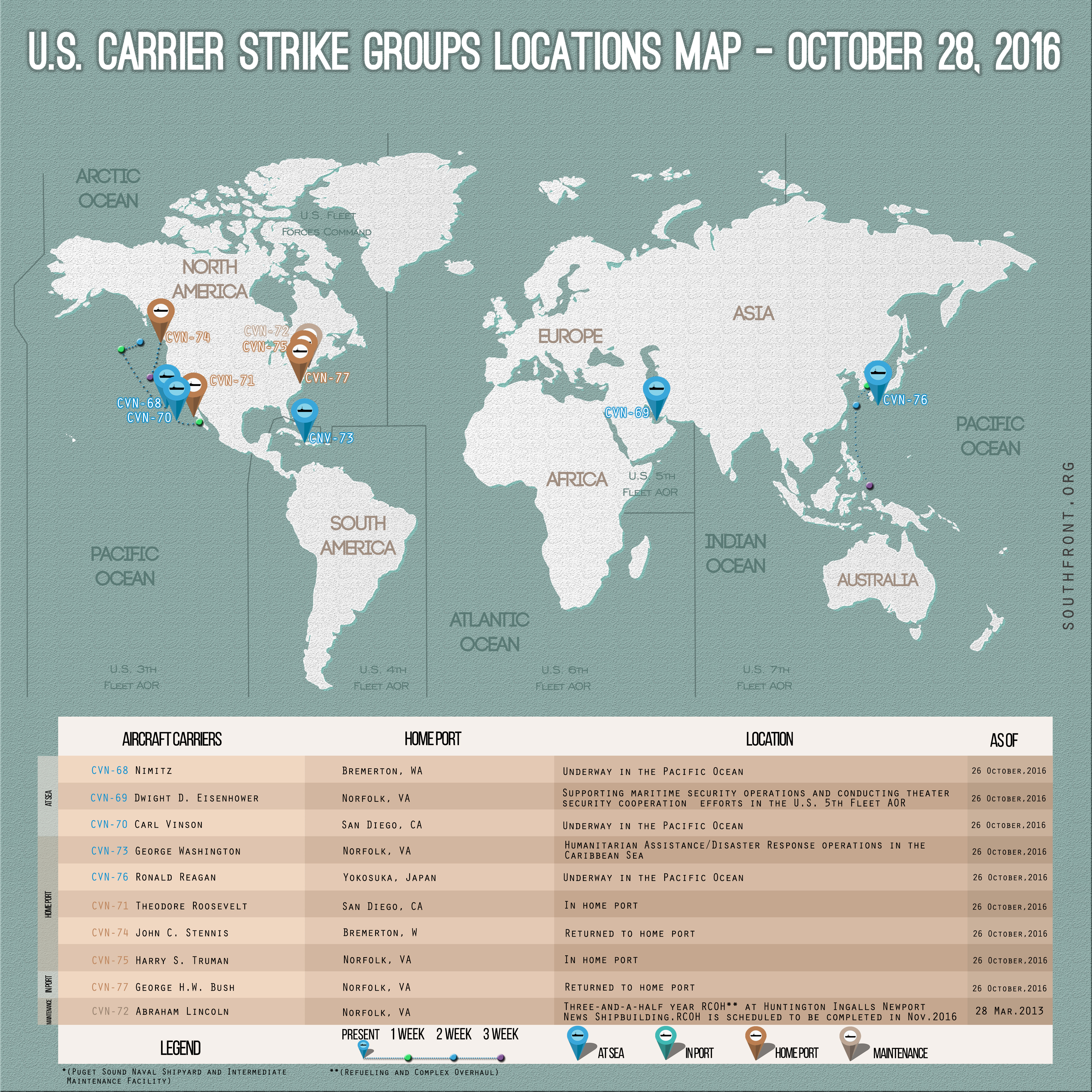 US Carrier Strike Groups Locations Map – October 28, 2016