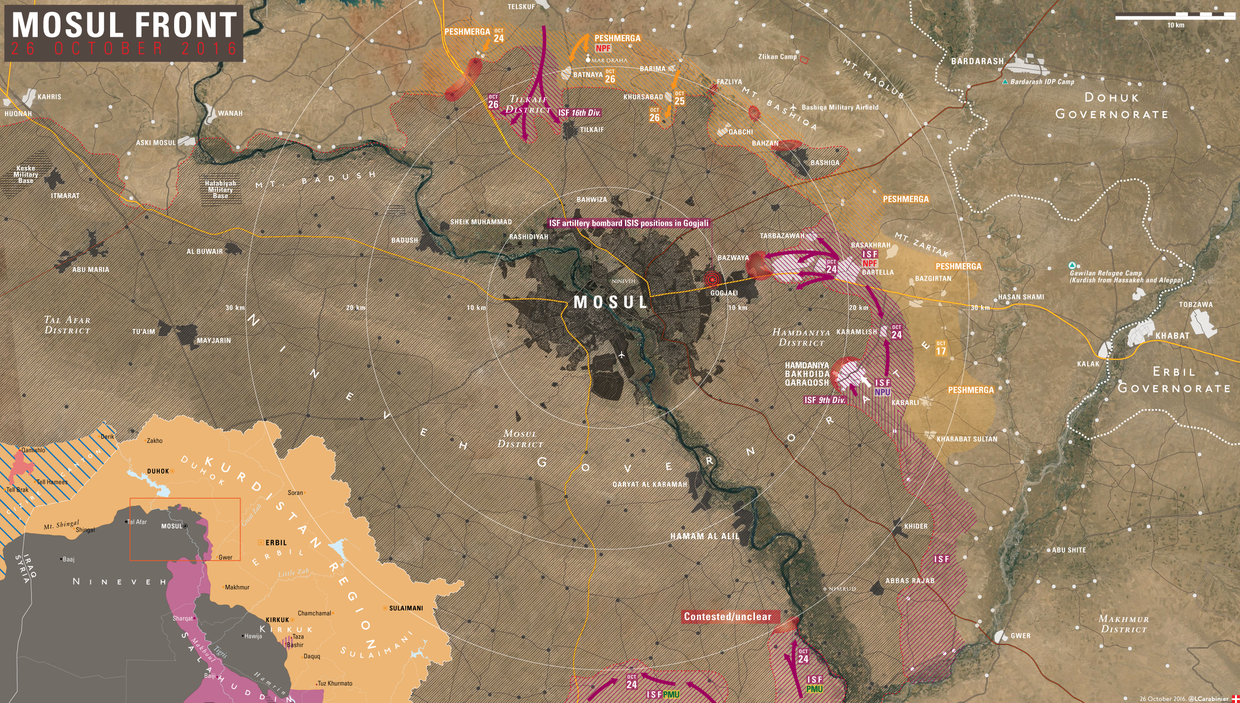 Iraqi Map Update: Results of 10th Day of Battle for Mosul