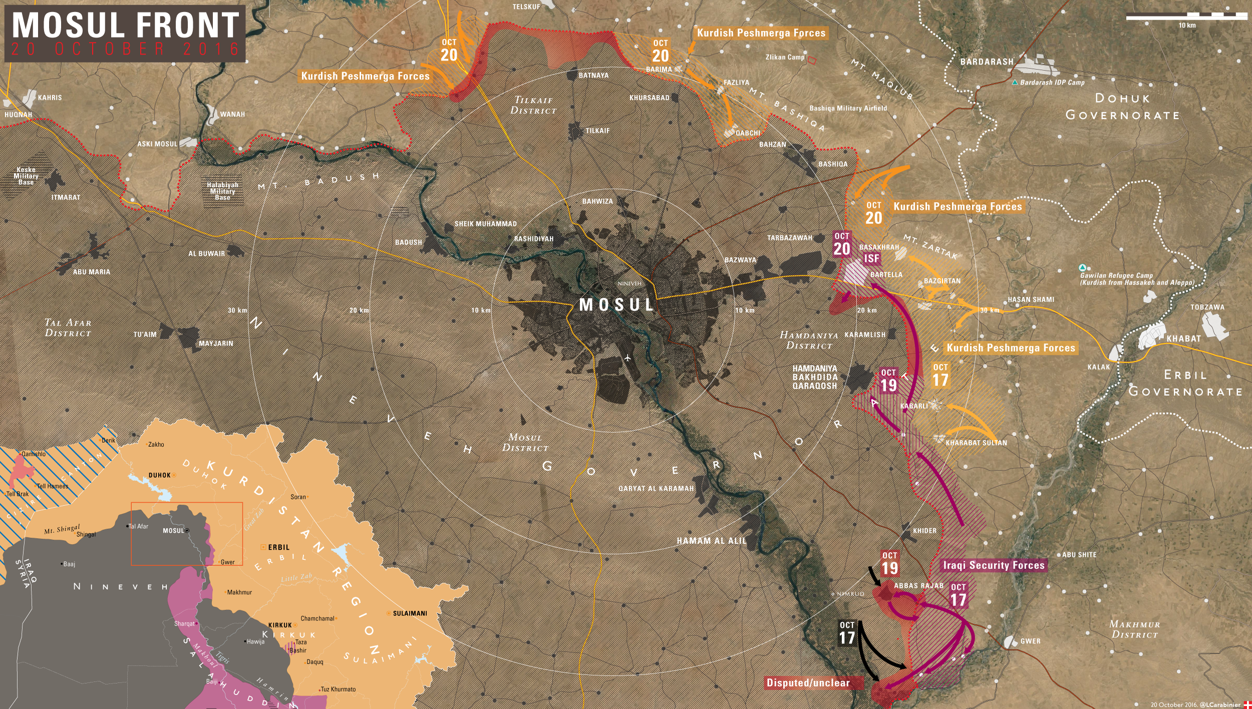 Map Update Results of 4th Day of Battle for Mosul