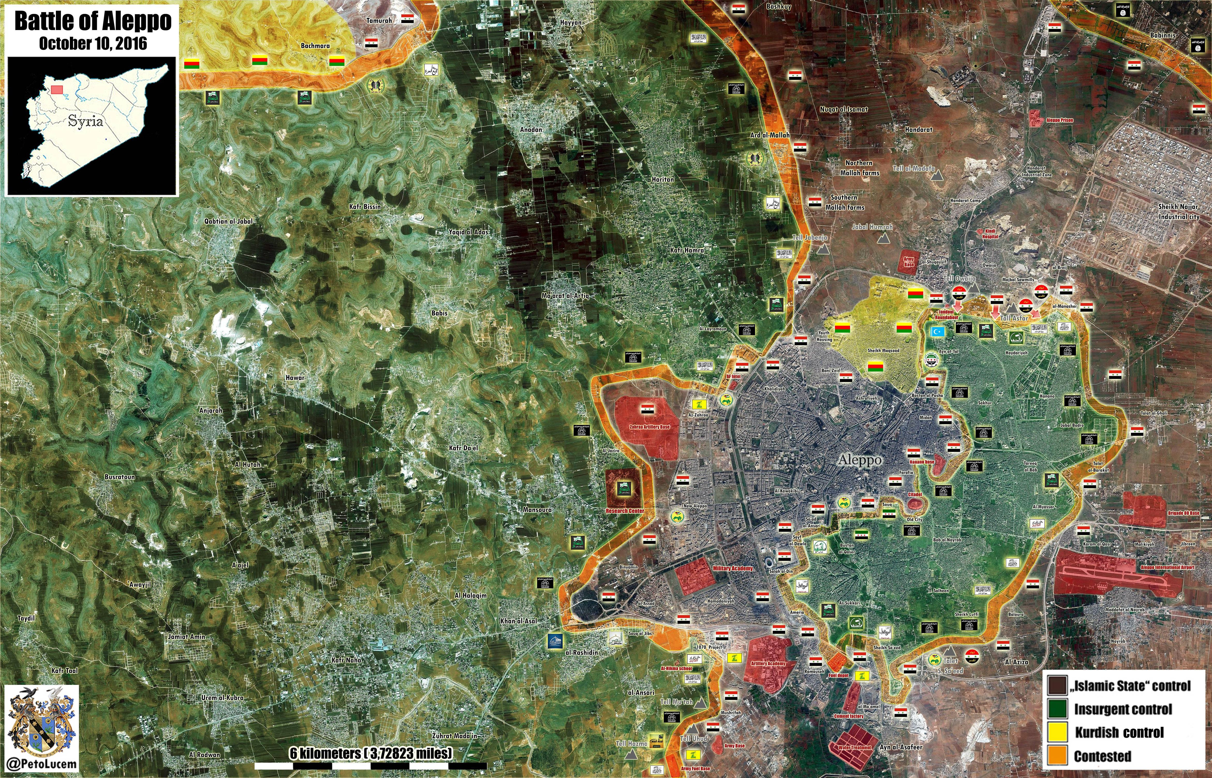 Overview of Military Situation in Aleppo City on October 13-14, 2016