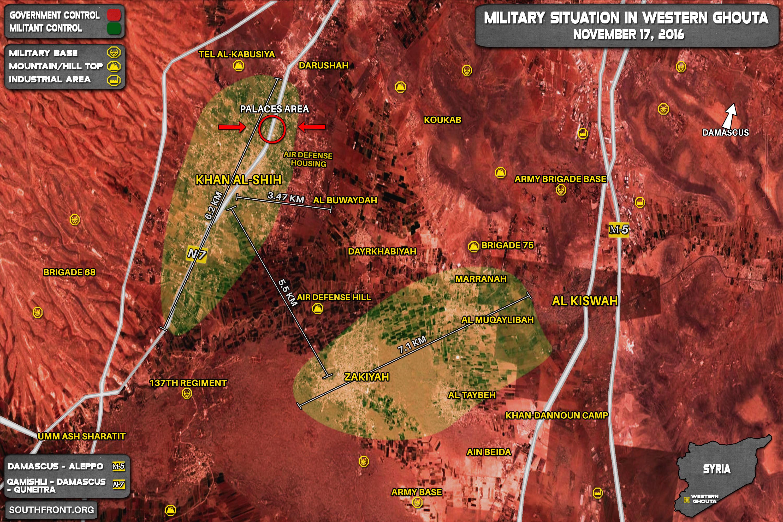 Govt Forces Advancing in Khan al-Shih Pocket in Western Ghouta