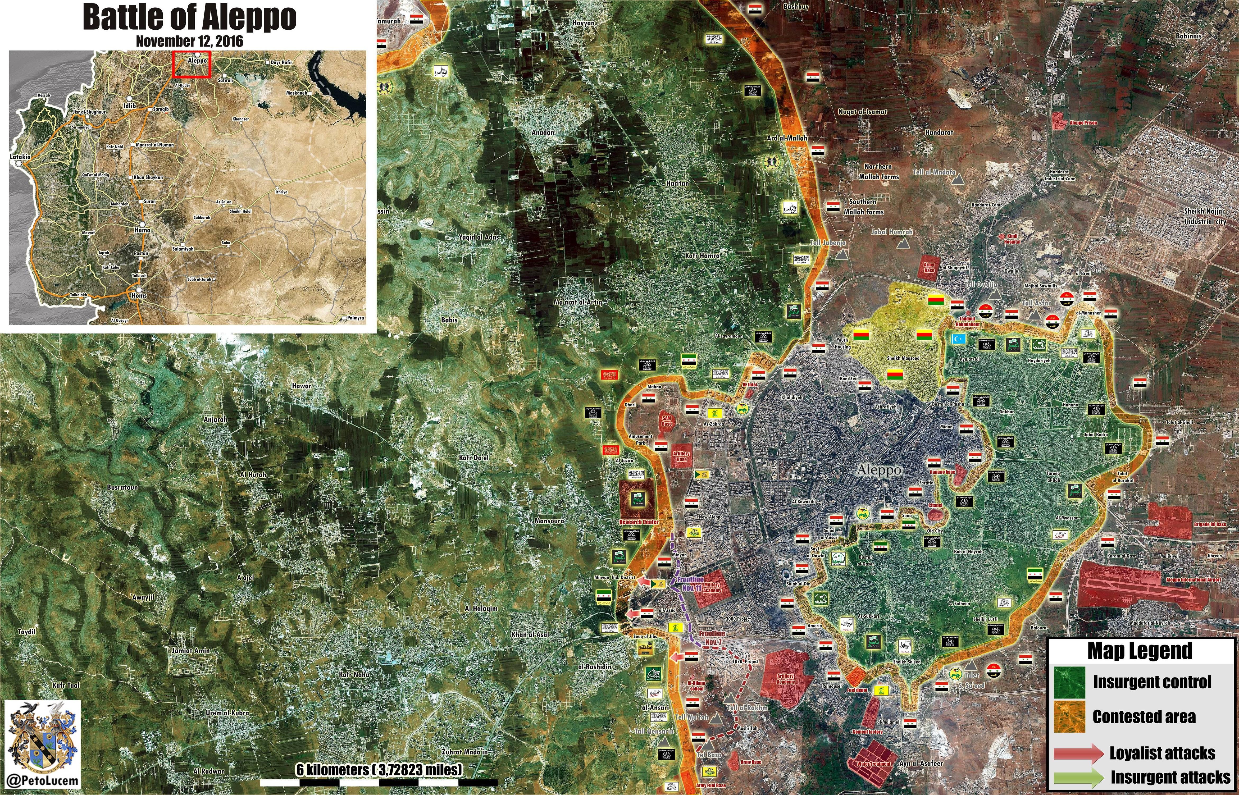 Syrian War Map Update: General Look at Military Situation in Aleppo City on November 12, 2016