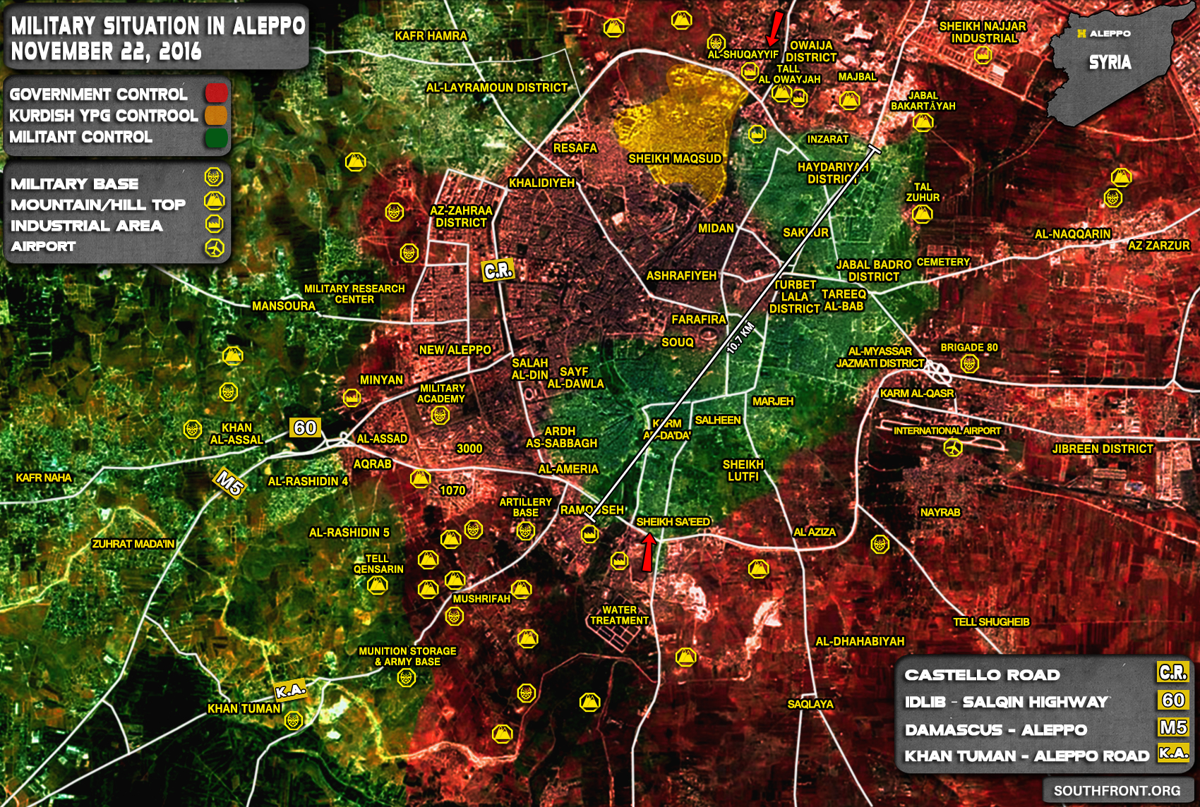 Overview of Military Situation in Aleppo City on November 22, 2016