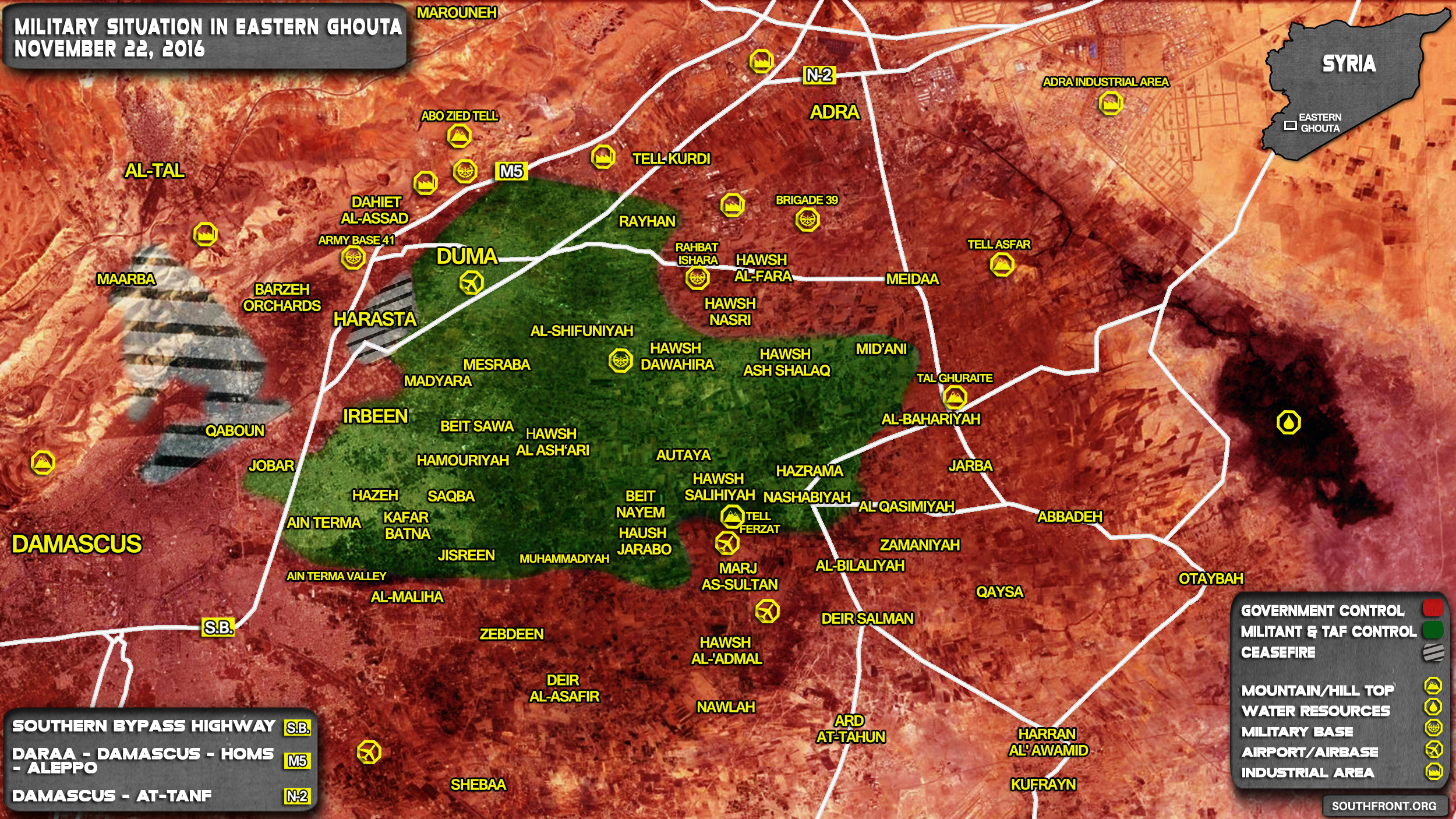 Government Forces Advancing at Damascus-Aleppo Highway in Eastern Ghouta
