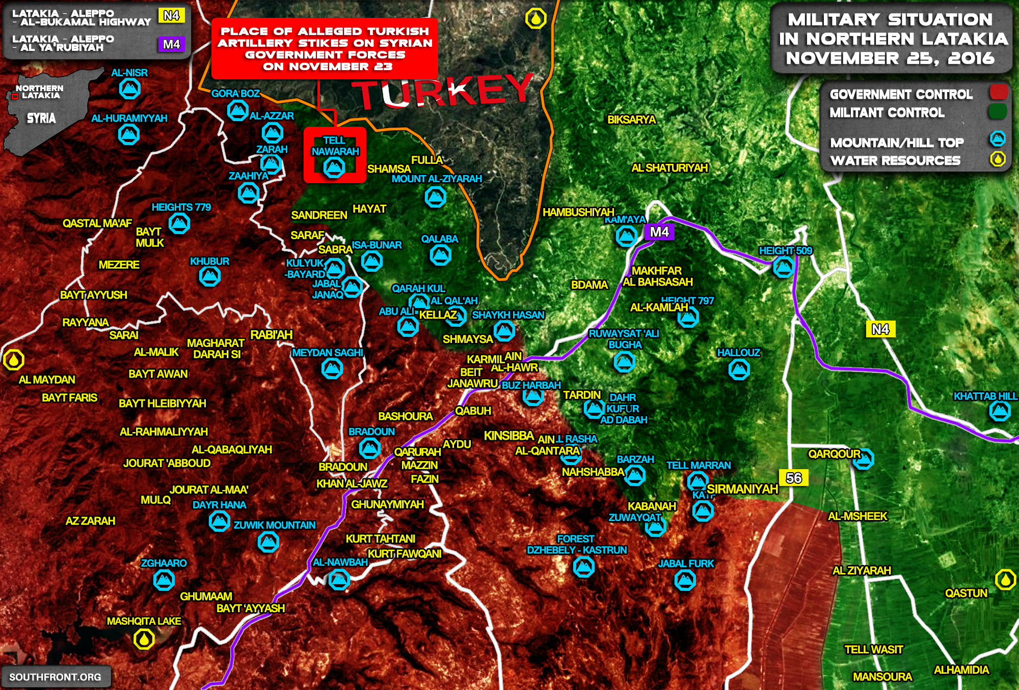 Syria Map Update: Military Situation in Northern Latakia on November 25, 2016