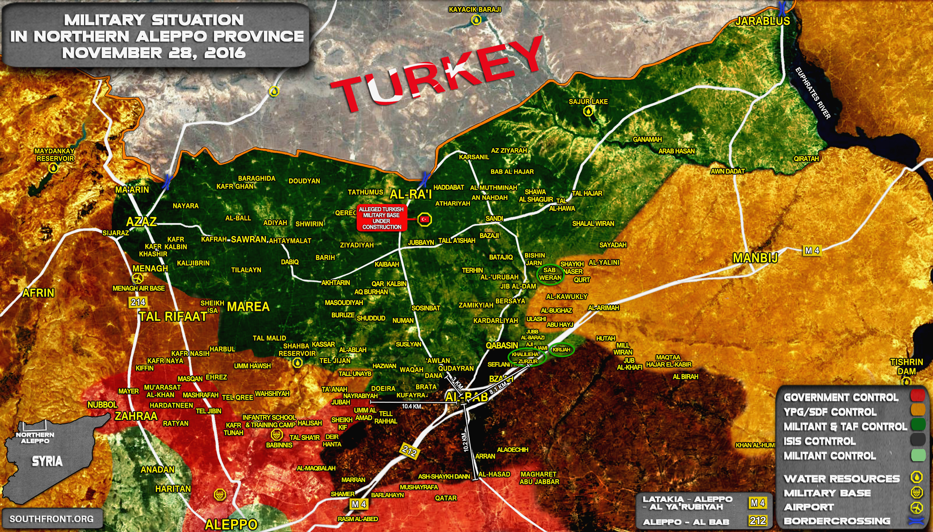 Syria Map Update: Military Situation in Northern Part of Aleppo Province on November 28, 2016