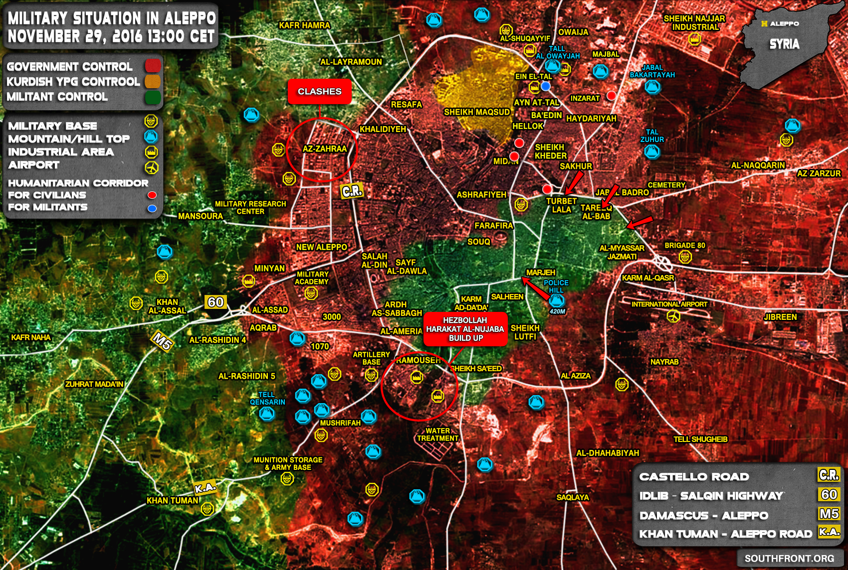 Overview of Military Situation in Aleppo City on November 29, 2016
