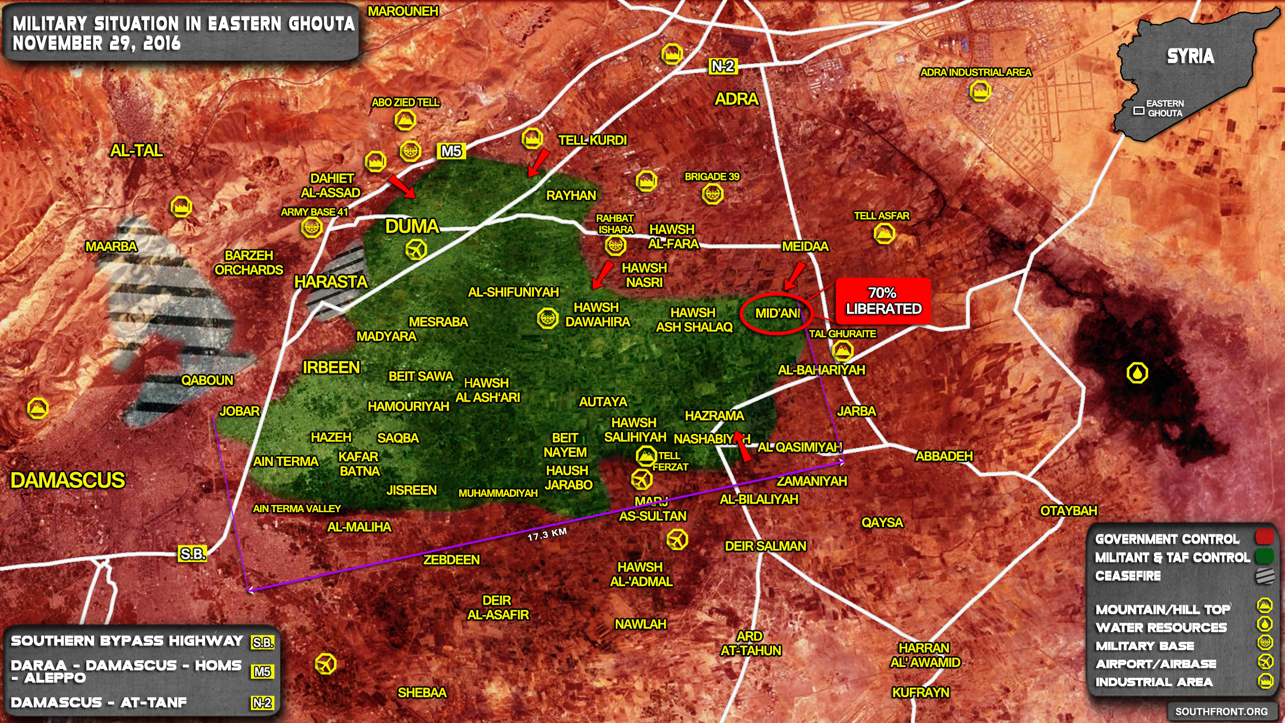 Government Forces Seize Over Half of Mid'ani Town, Prepare Major Offensive in Eastern Ghouta