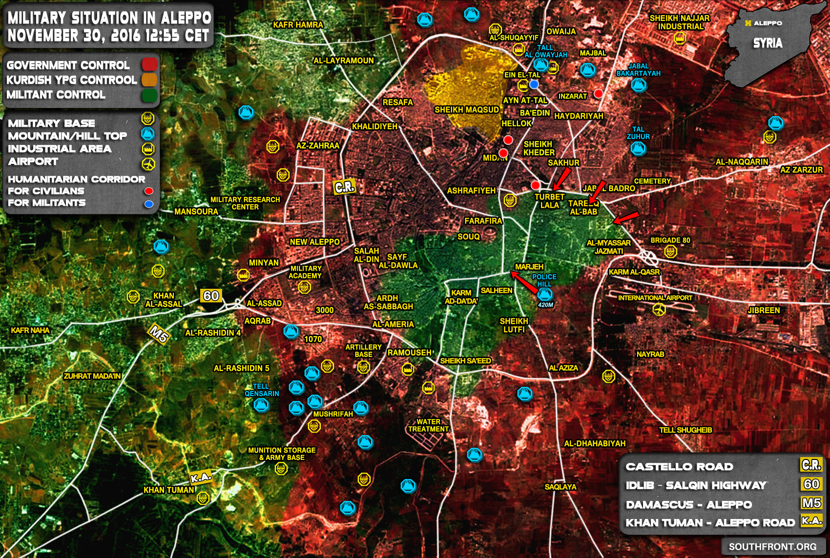 Overview of Military Situation in Aleppo City on November 30, 2016