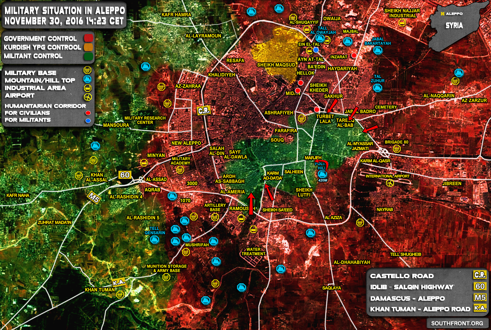 Syrian Army Liberated Sheikh Saeed Neighborhood of Aleppo City (Map)