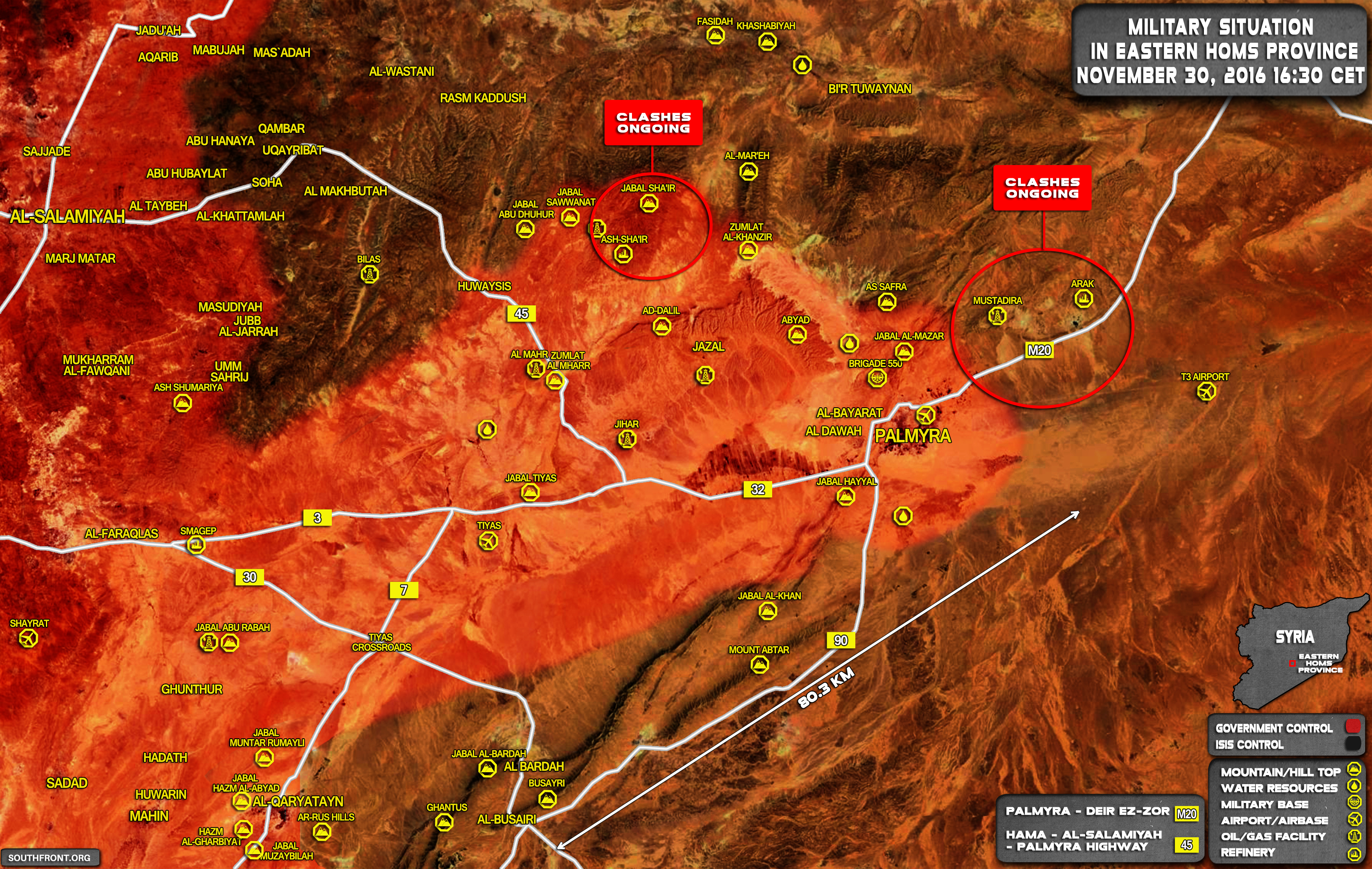 Syrian Army Clashing with ISIS in Eastern Part of Homs Province